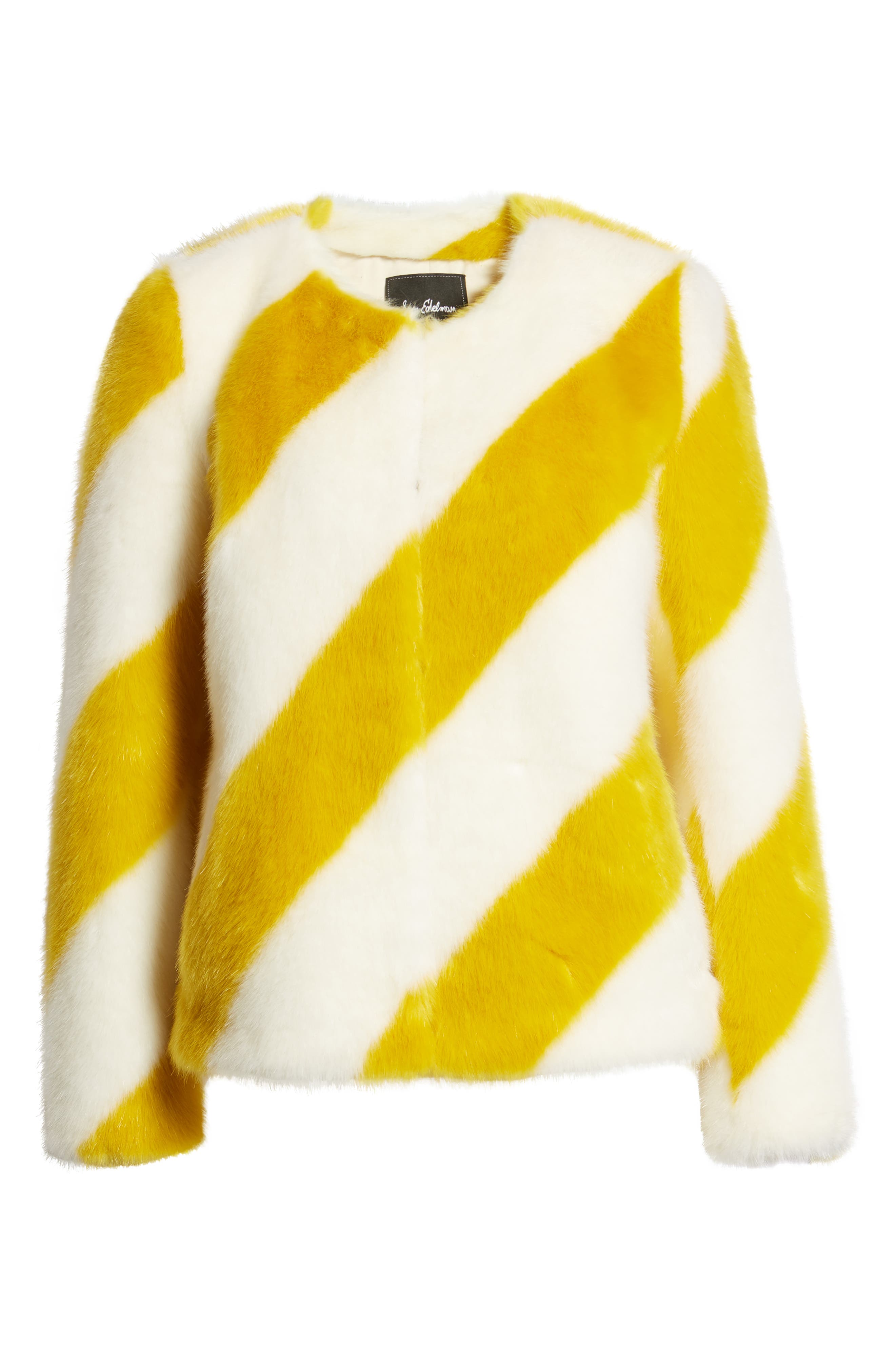 Collarless Chubby Faux Fur Jacket,                             Alternate thumbnail 6, color,                             IVORY/ MARIGOLD STRIPE