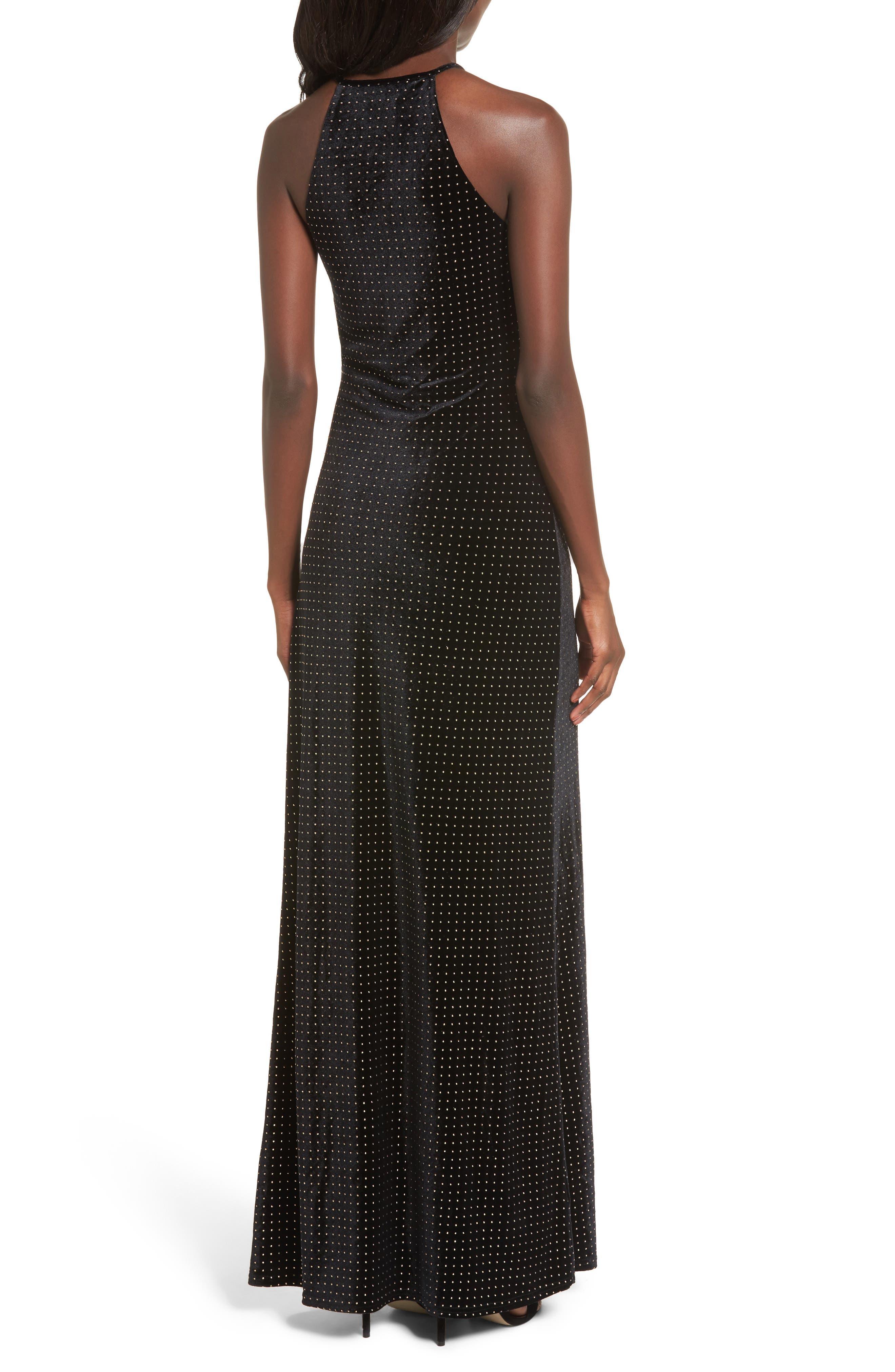 Crenshaw Studded Velvet Gown,                             Alternate thumbnail 2, color,                             002