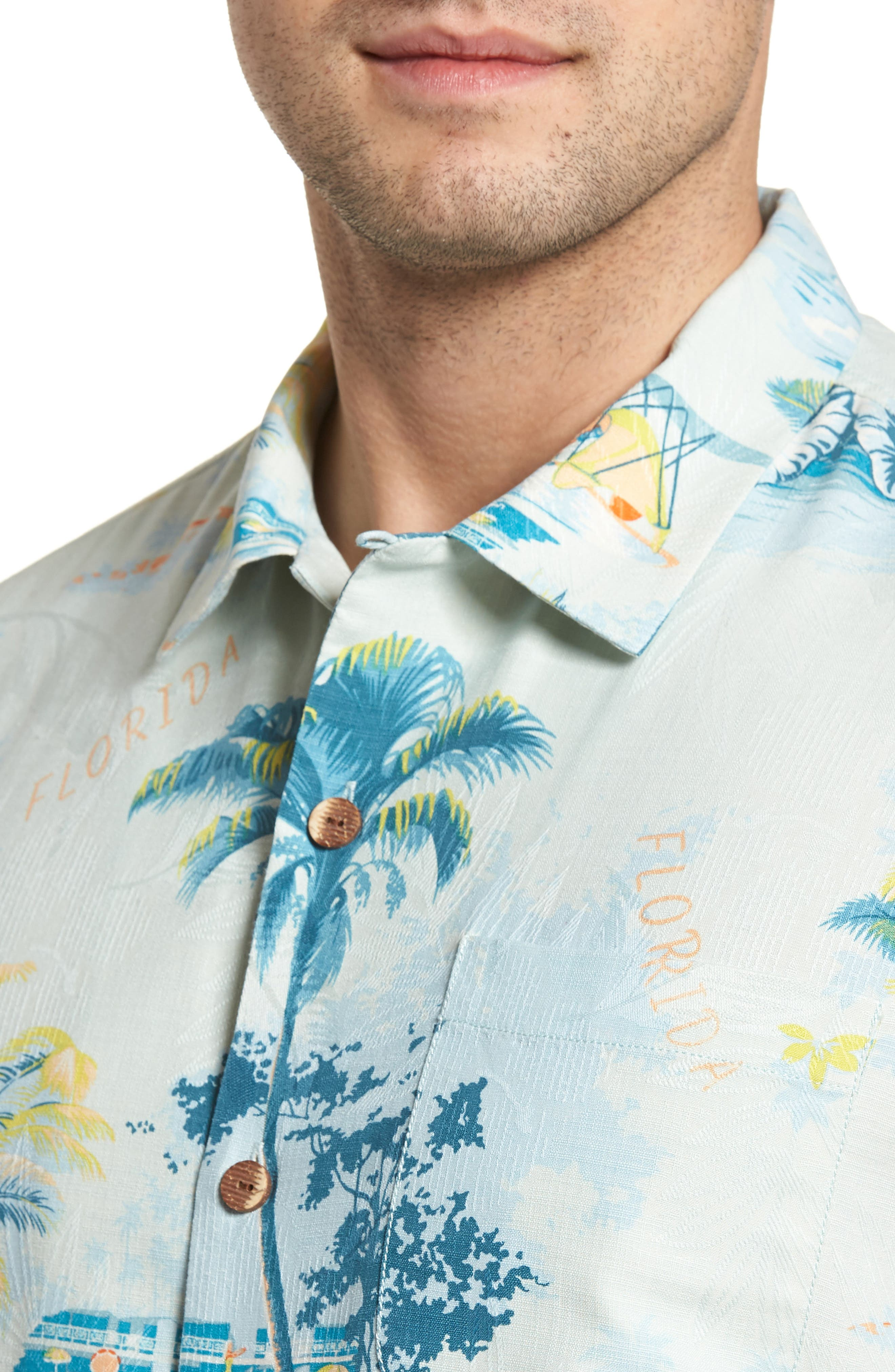 Florida Palms Regular Fit Silk Camp Shirt,                             Alternate thumbnail 4, color,                             400