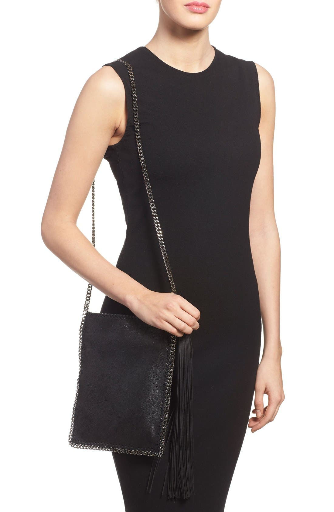 'Falabella' Faux Leather Shoulder Bag,                             Alternate thumbnail 2, color,                             001