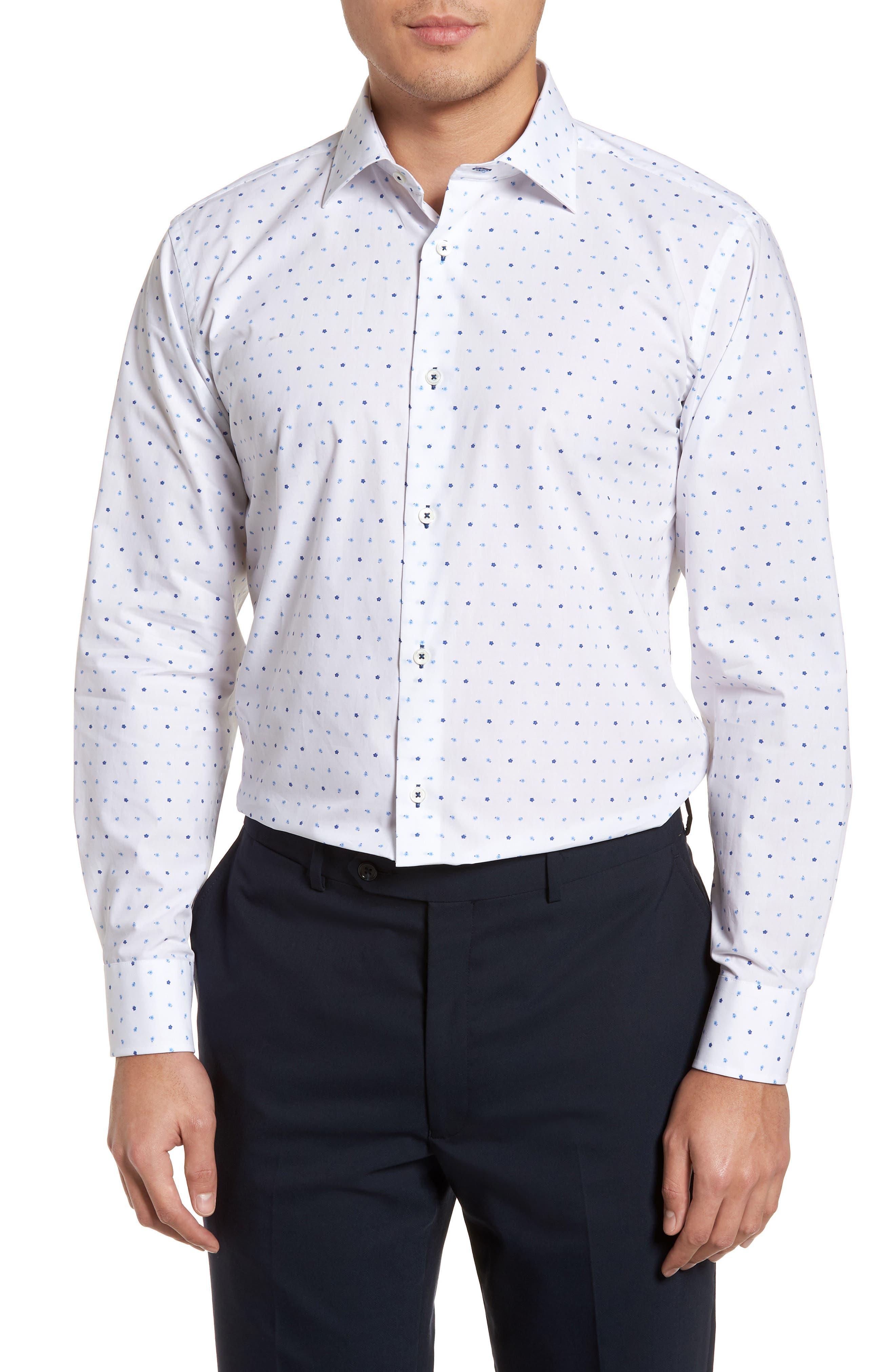 Trim Fit Print Dress Shirt,                             Main thumbnail 1, color,                             CLASSIC BLUE/ WHITE