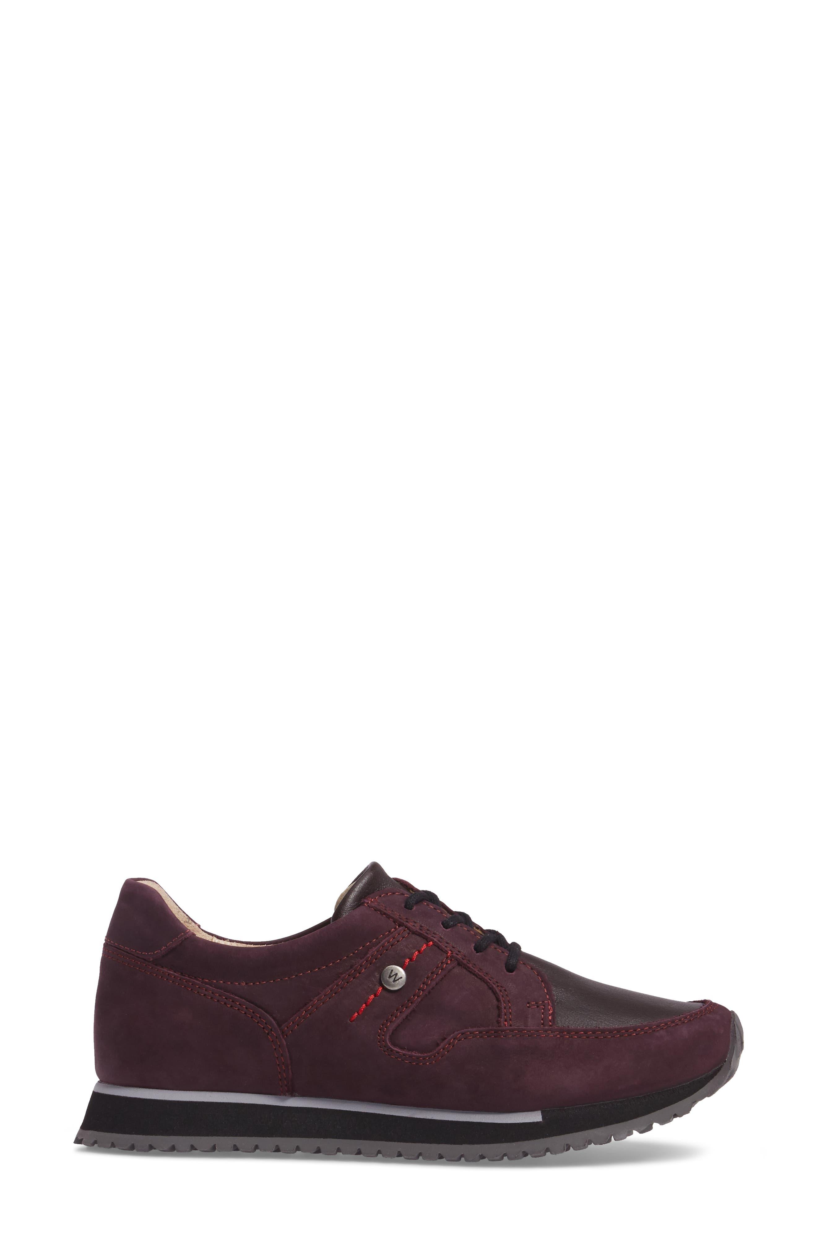 E-Walk Sneaker,                             Alternate thumbnail 3, color,                             BORDO LEATHER