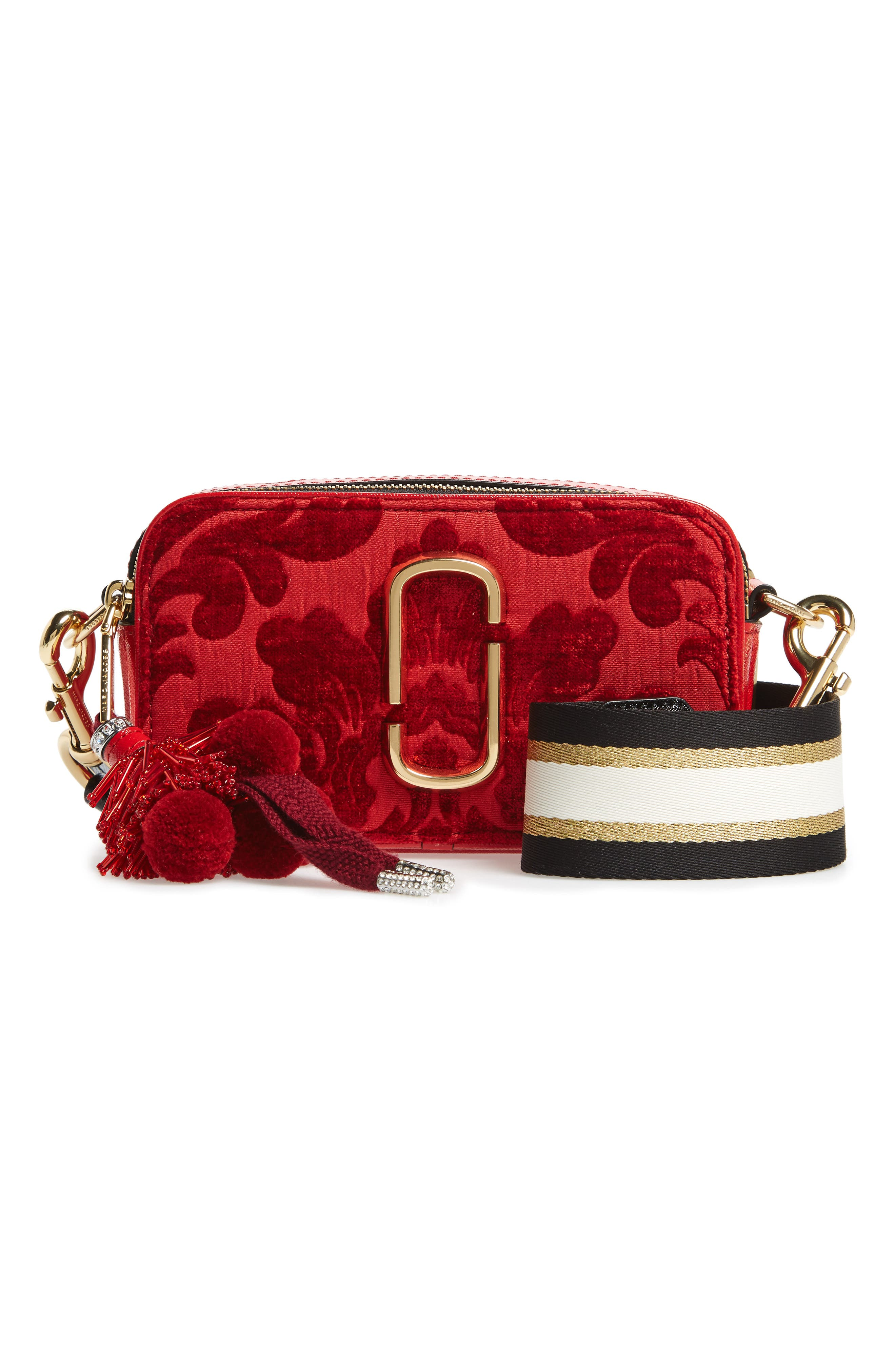 Snapshot Jacquard Crossbody Bag,                         Main,                         color, RED