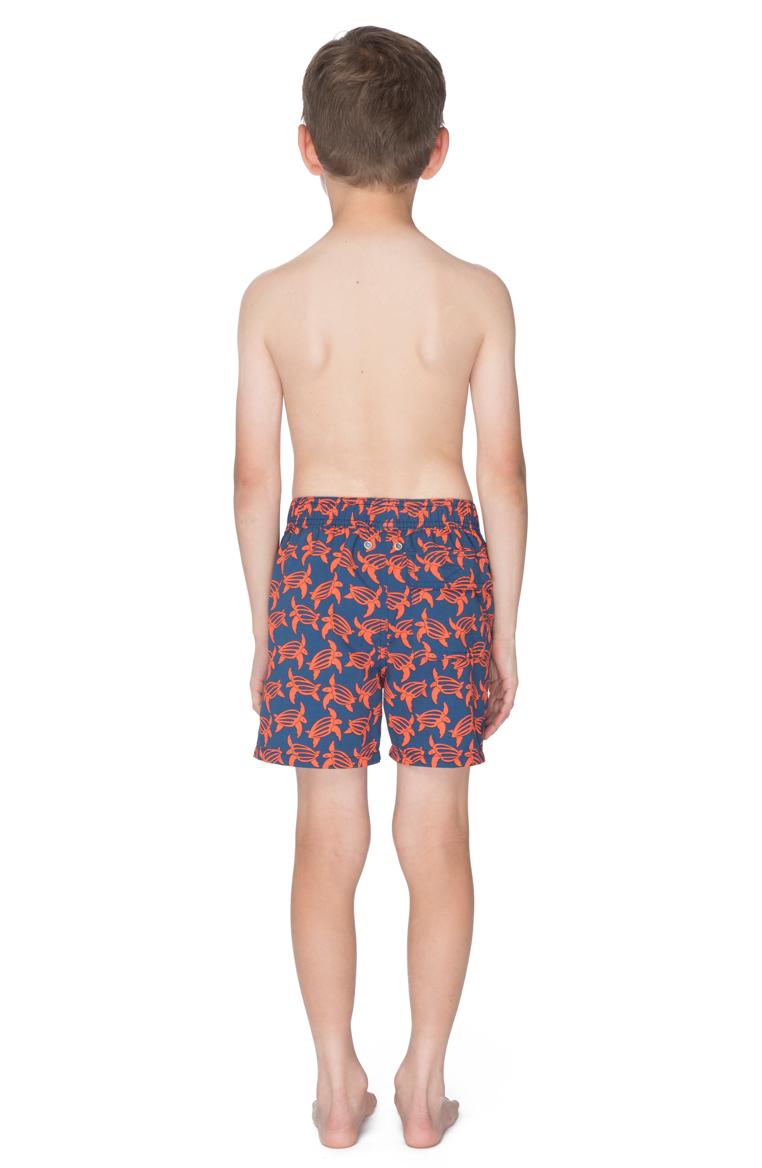Turtle Swim Trunks,                             Alternate thumbnail 3, color,                             NAVY/ ORANGE