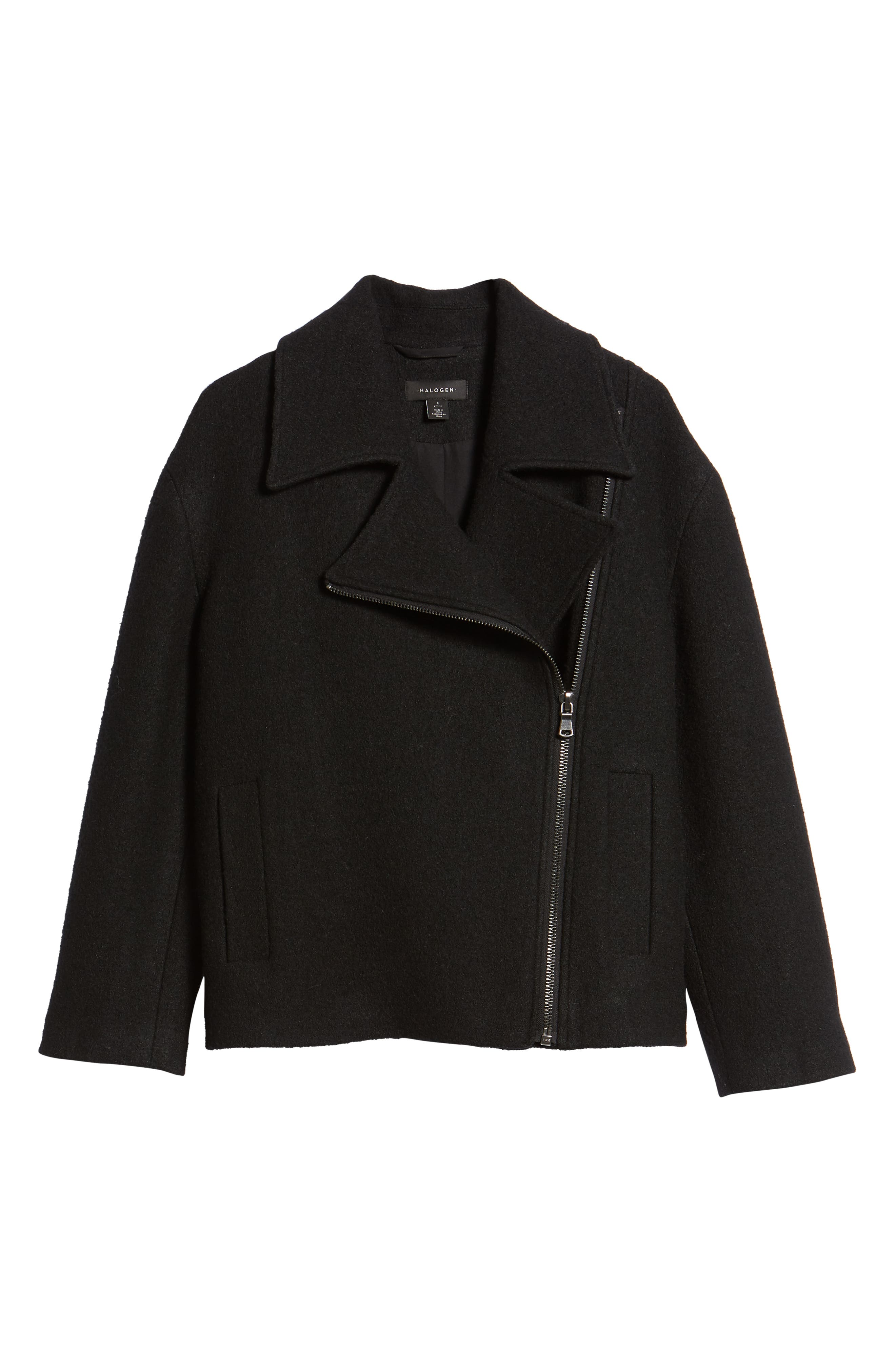 Boiled Wool Blend Moto Jacket,                             Alternate thumbnail 6, color,                             001