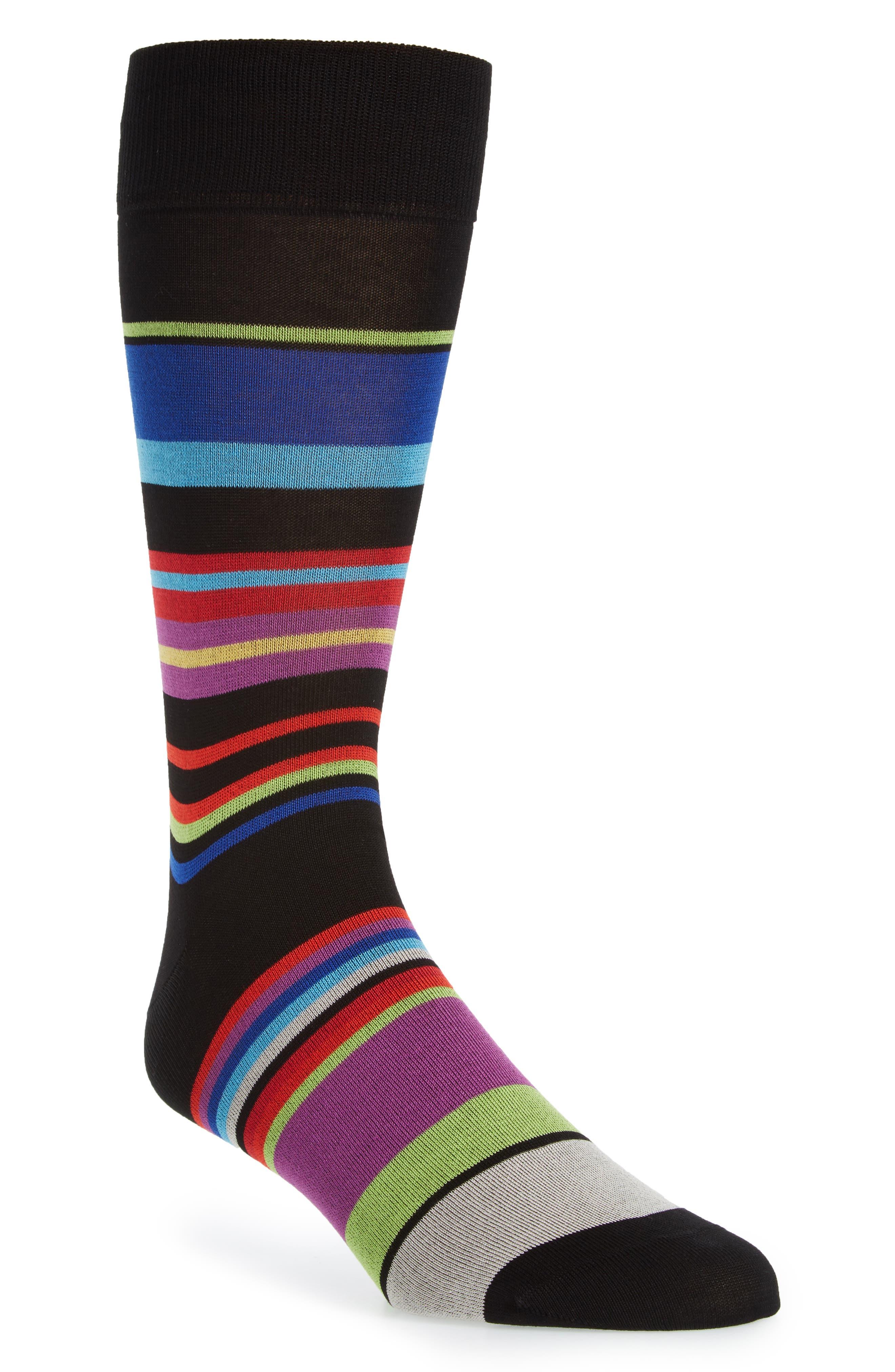 Stripe Mercerized Cotton Blend Socks,                             Main thumbnail 1, color,                             001