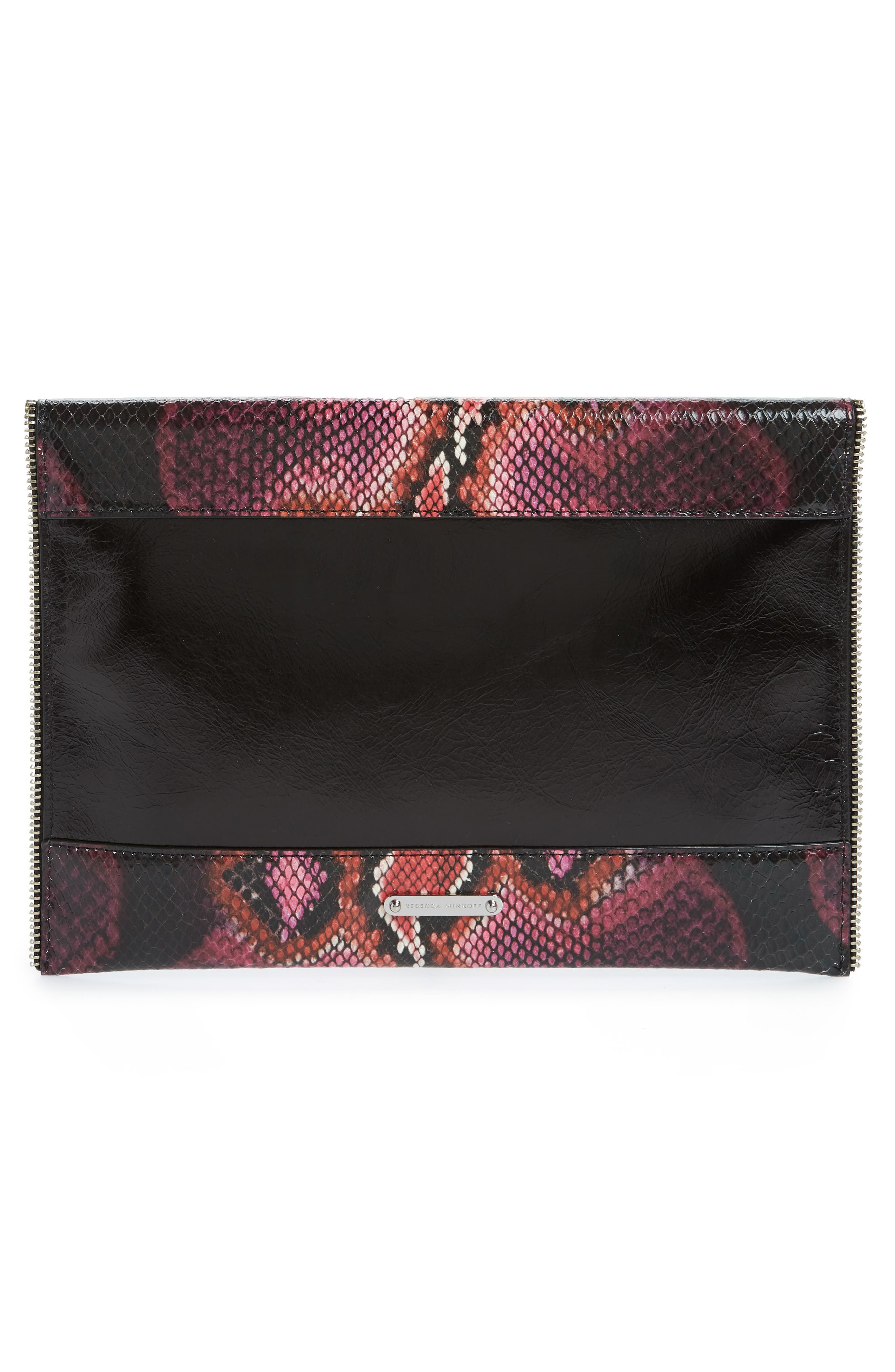 REBECCA MINKOFF,                             Leo Snake Embossed Leather Clutch,                             Alternate thumbnail 3, color,                             PINK MULTI