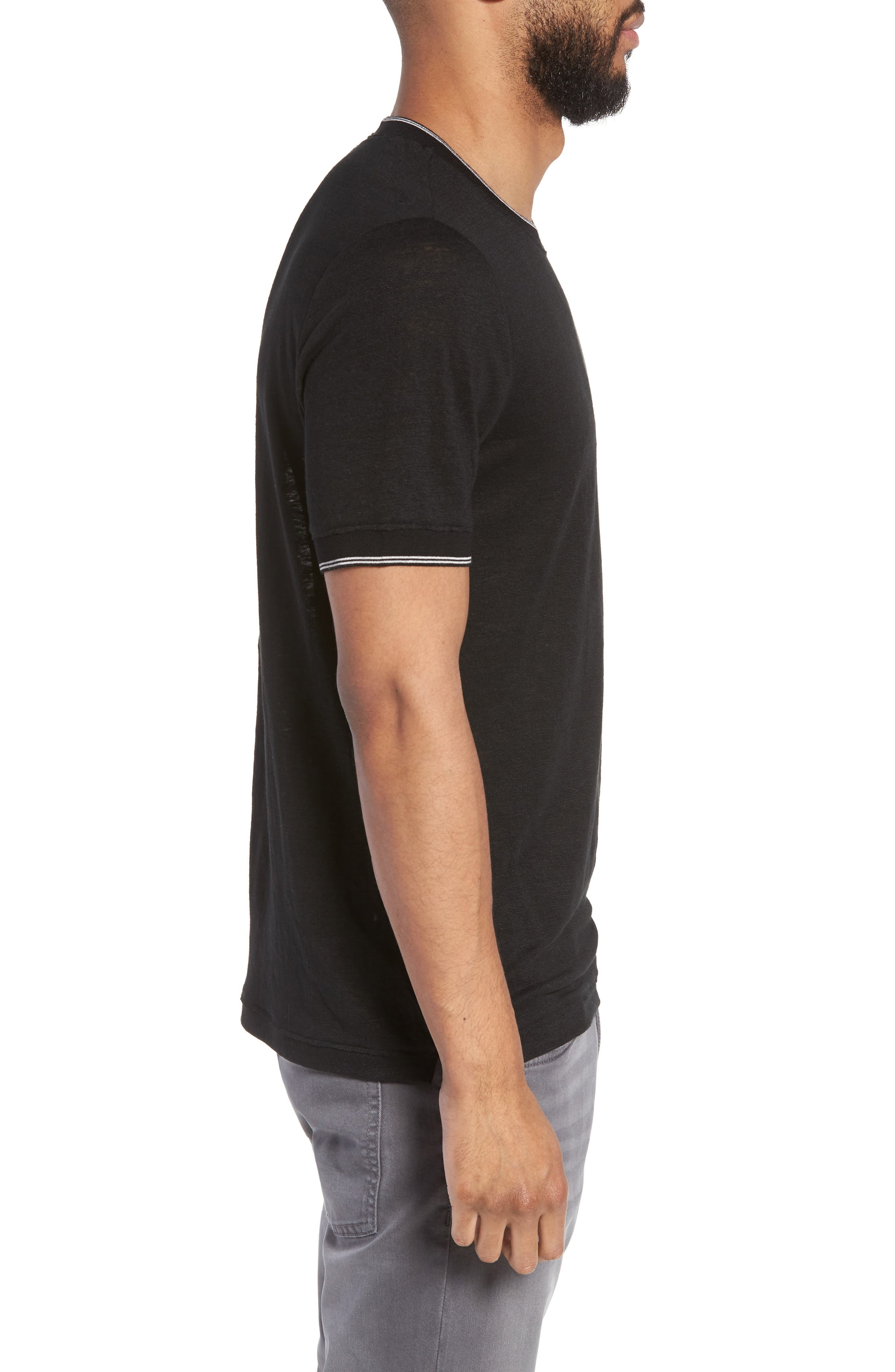 Slim Fit Tipped Linen T-Shirt,                             Alternate thumbnail 3, color,                             001