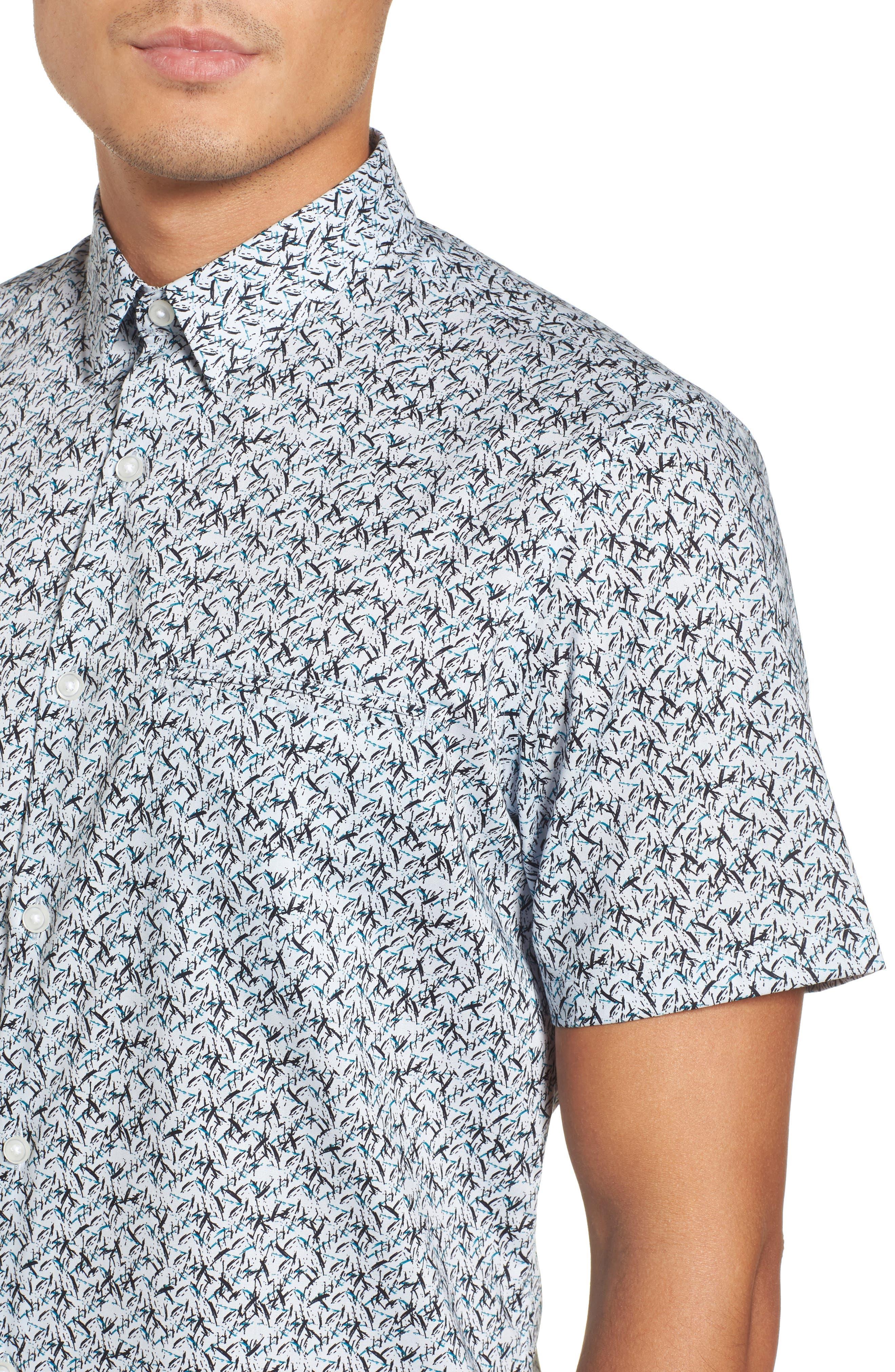 Slim Fit No-Iron Print Sport Shirt,                             Alternate thumbnail 4, color,                             450
