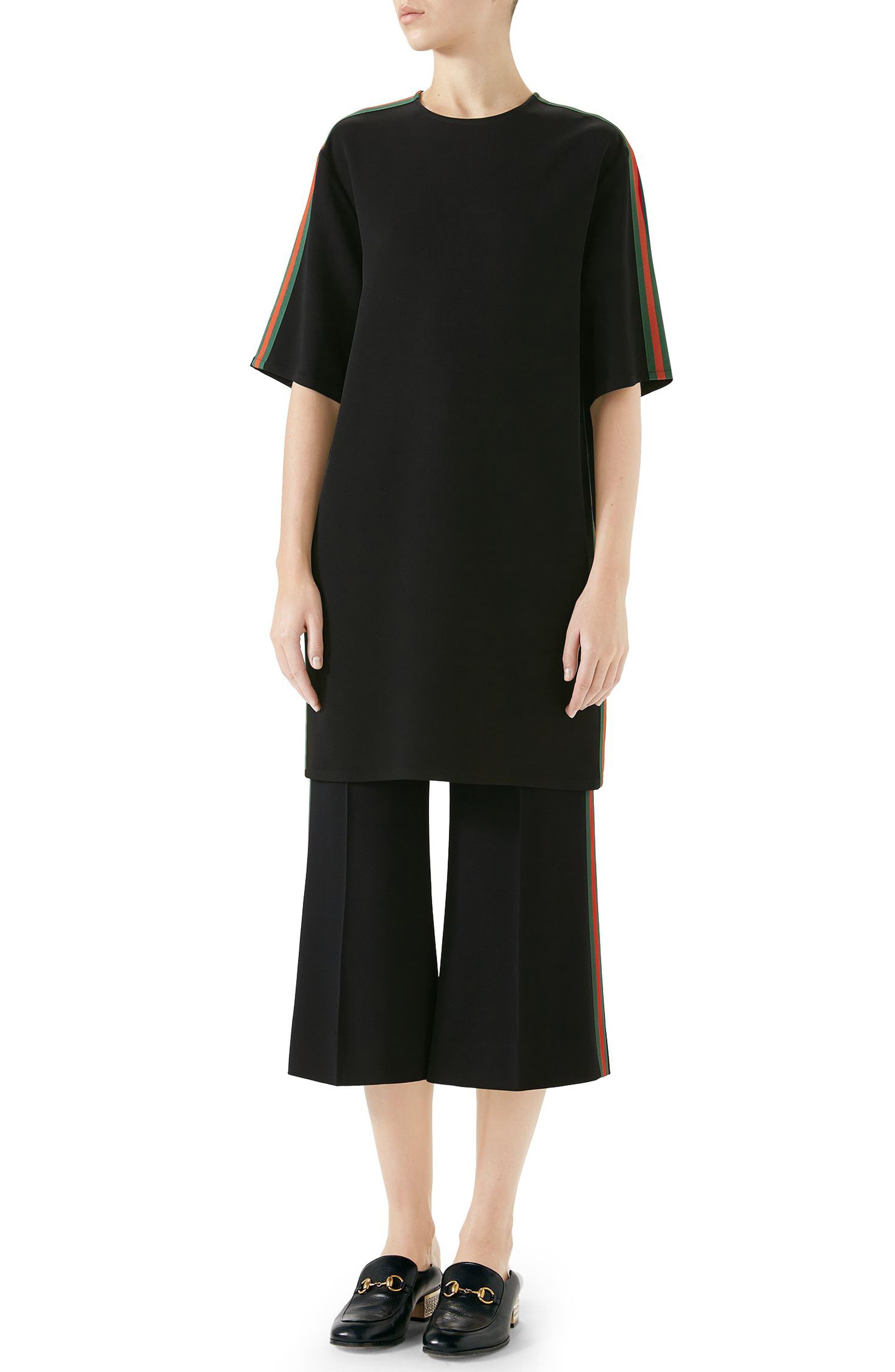 Side Stripe Cady Tunic Dress,                             Alternate thumbnail 4, color,                             BLACK