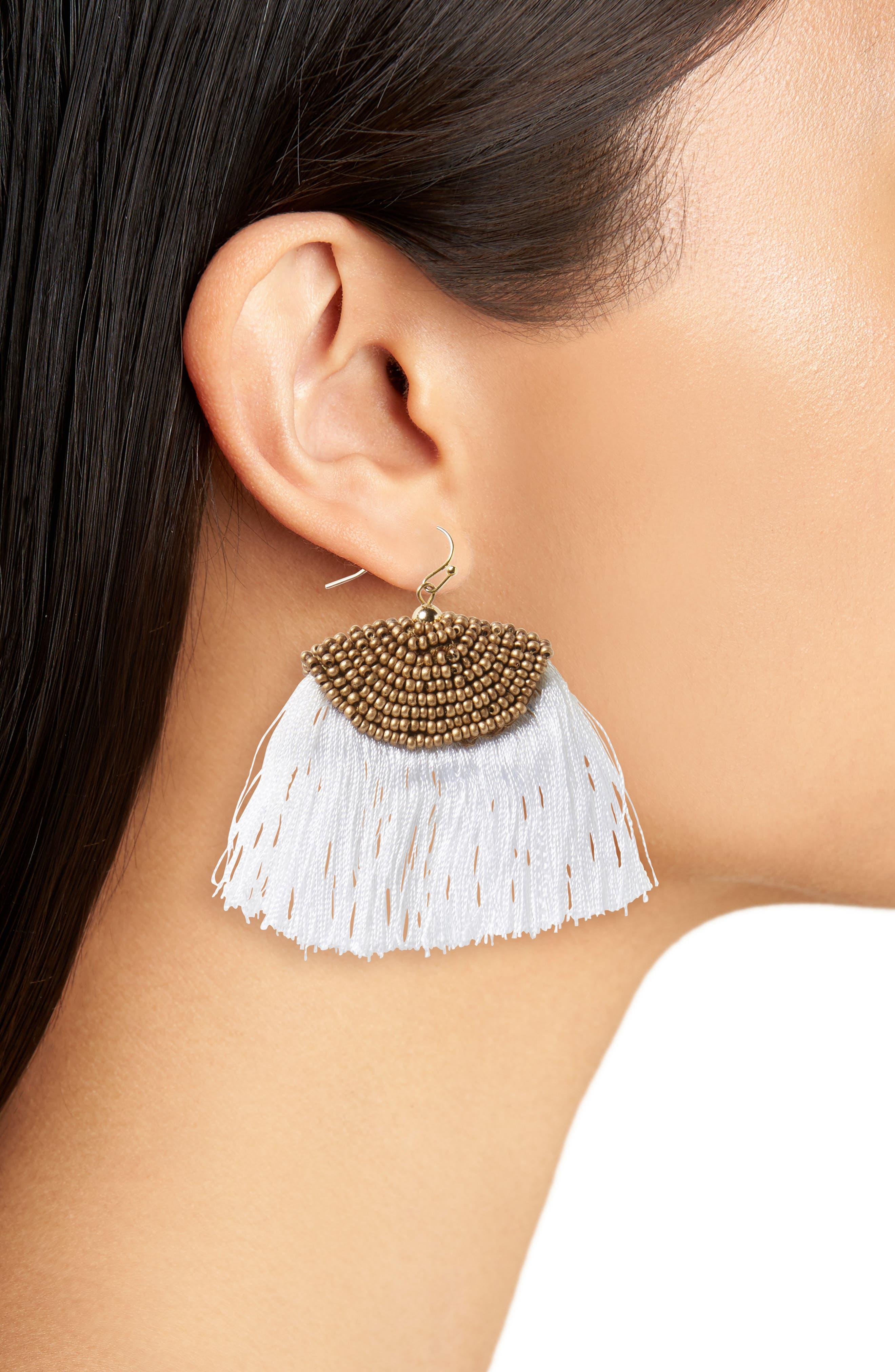 Fan Tassel Earrings,                             Alternate thumbnail 2, color,