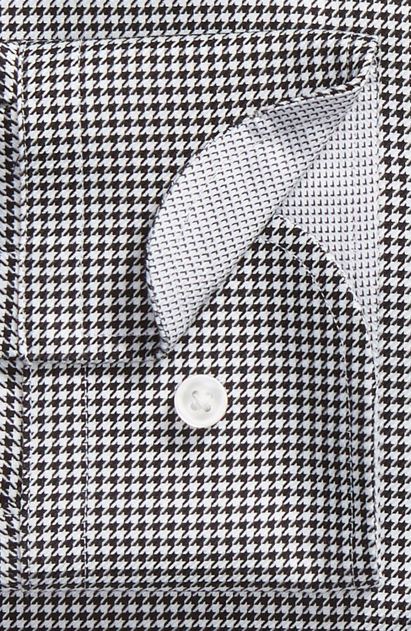 Jason Slim Fit Houndstooth Dress Shirt,                             Alternate thumbnail 6, color,                             BLACK