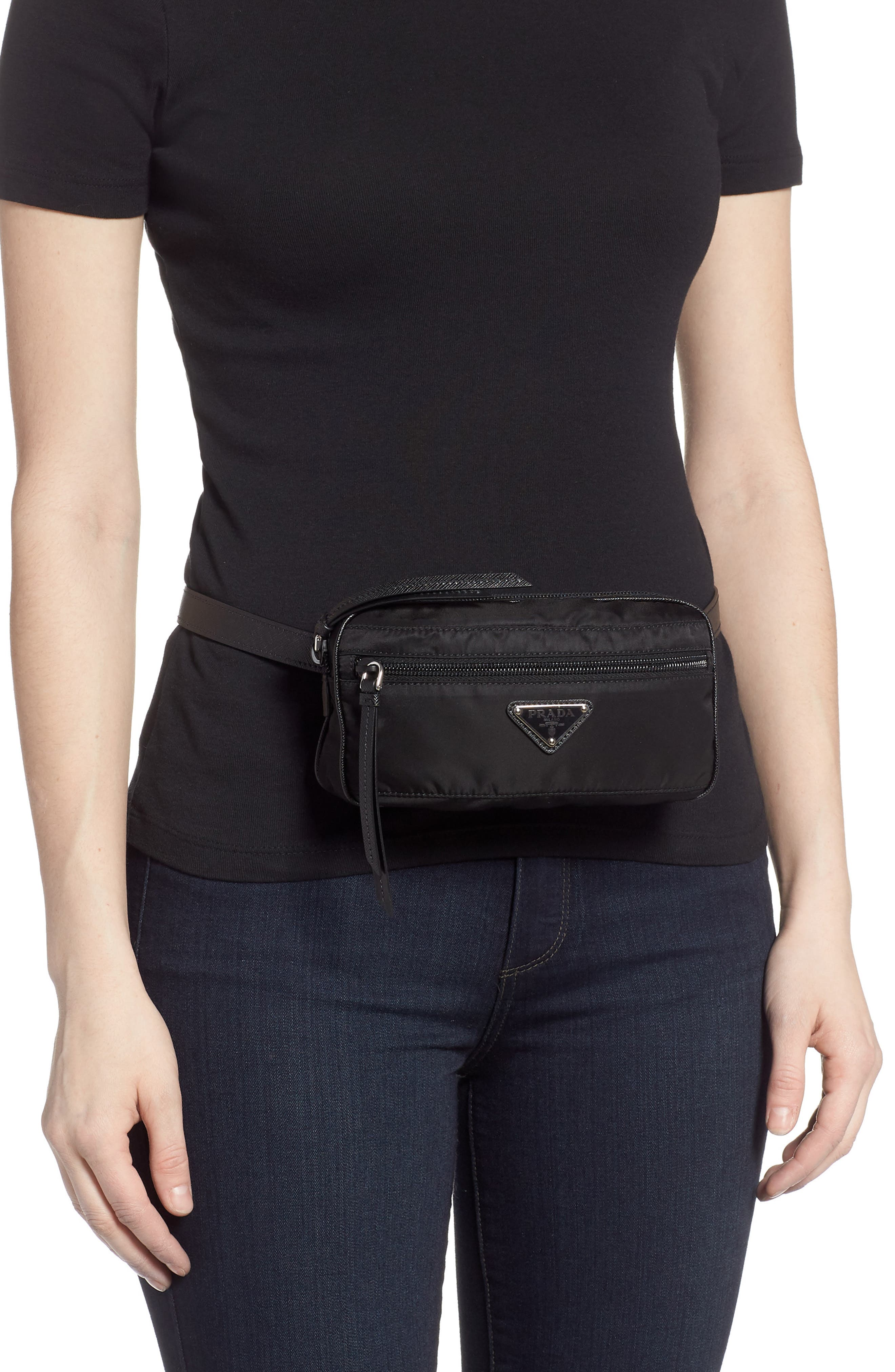 PRADA,                             Small Nylon Belt Bag,                             Alternate thumbnail 2, color,                             NERO