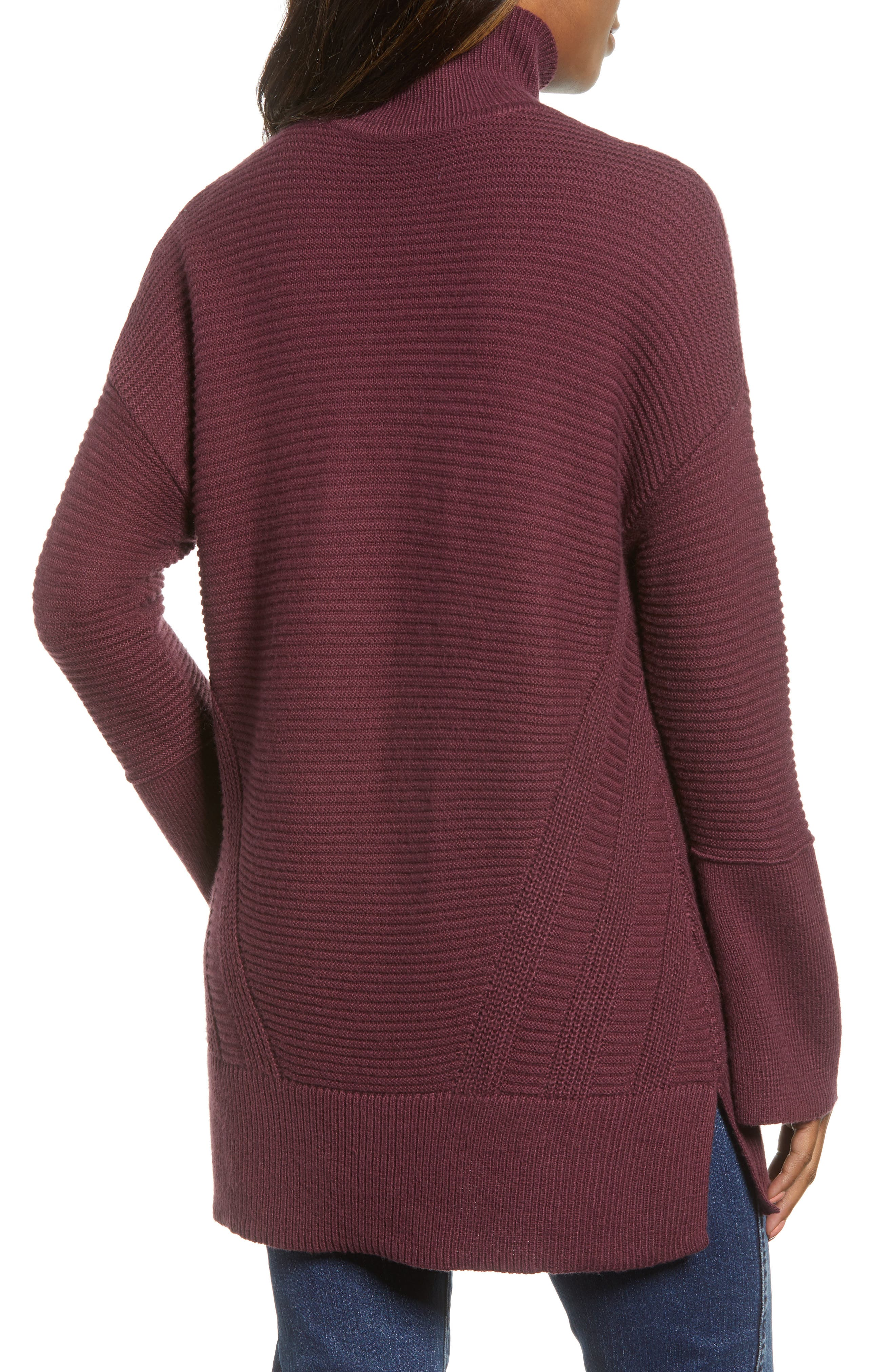 Ribbed Turtleneck Tunic Sweater,                             Alternate thumbnail 2, color,                             930