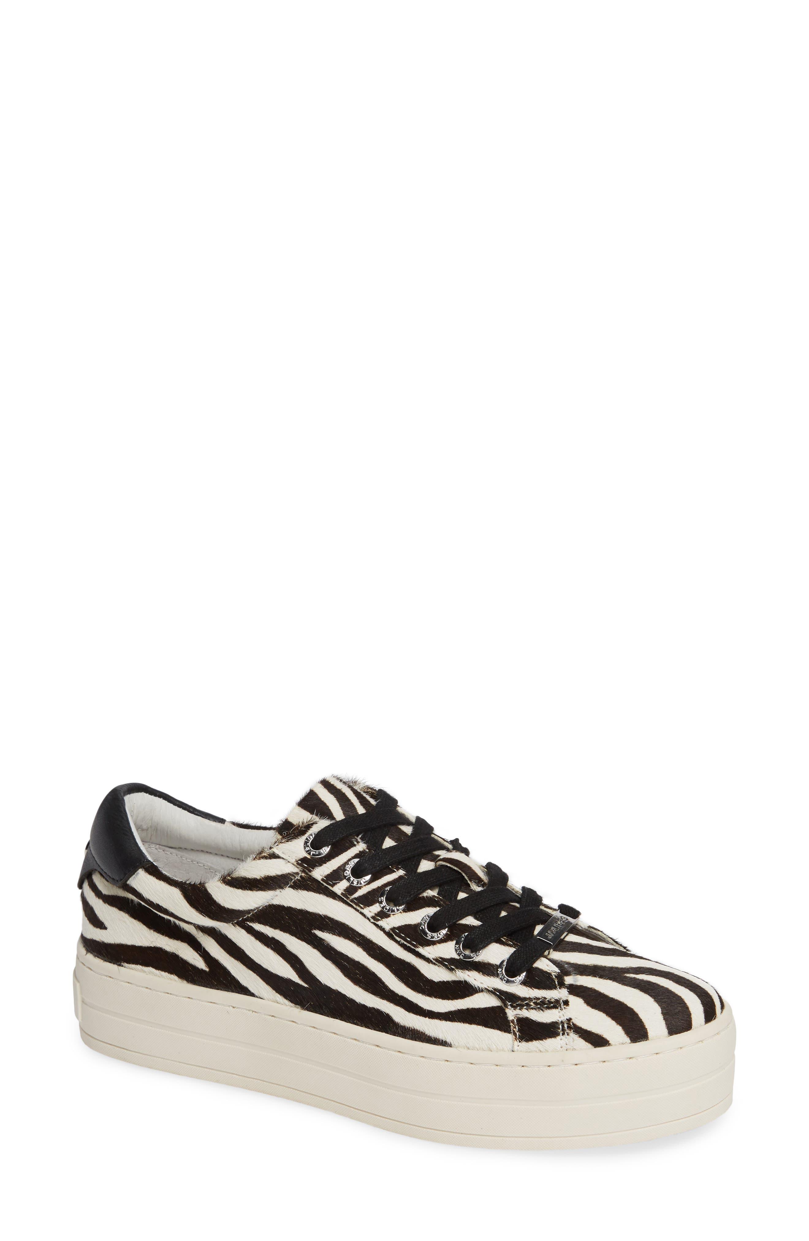 Jslides Hippie Genuine Calf Hair Platform Sneaker- Black