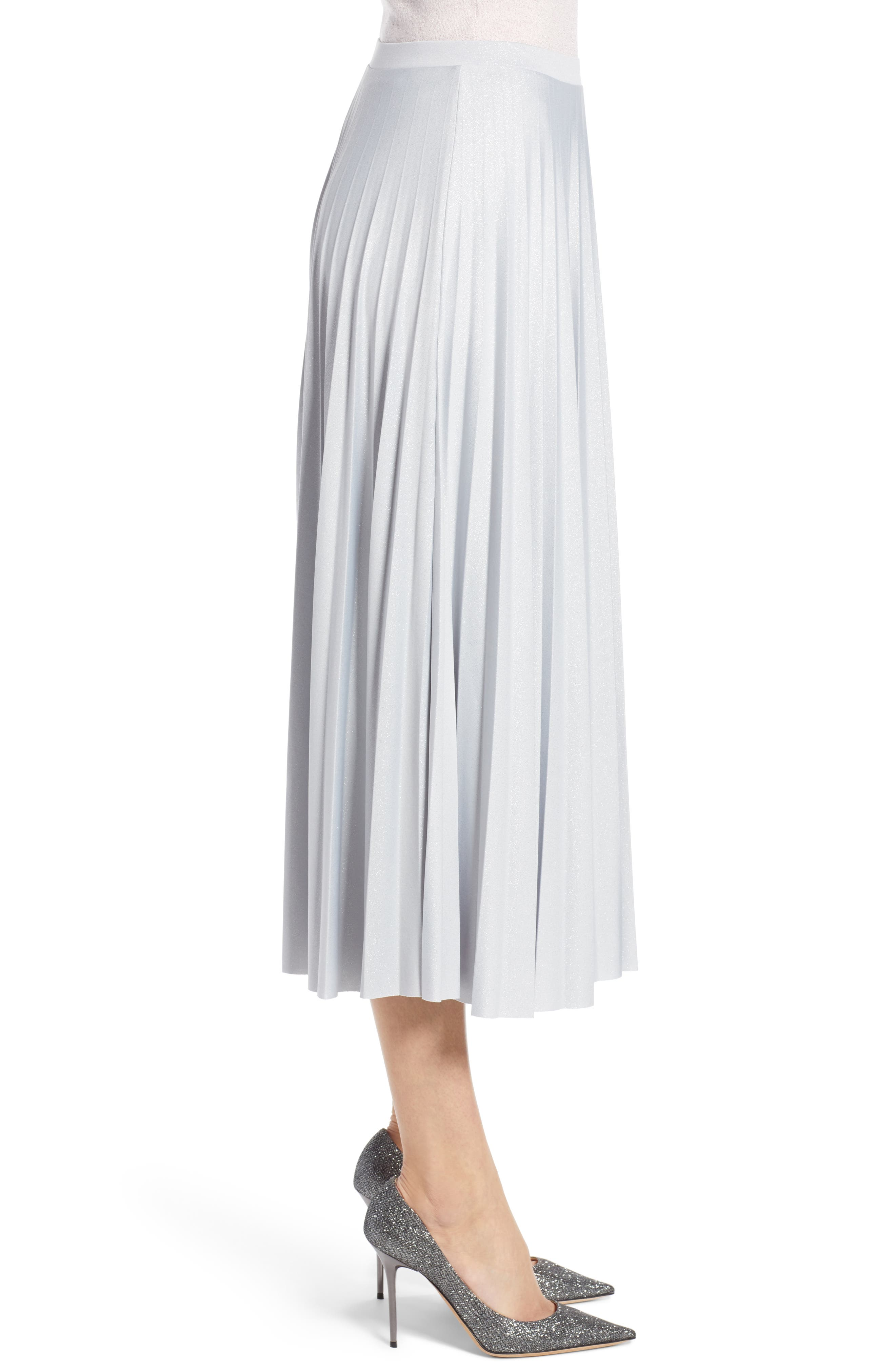 Metallic Pleat Midi Skirt,                             Alternate thumbnail 3, color,                             GREY- SILVER FOIL
