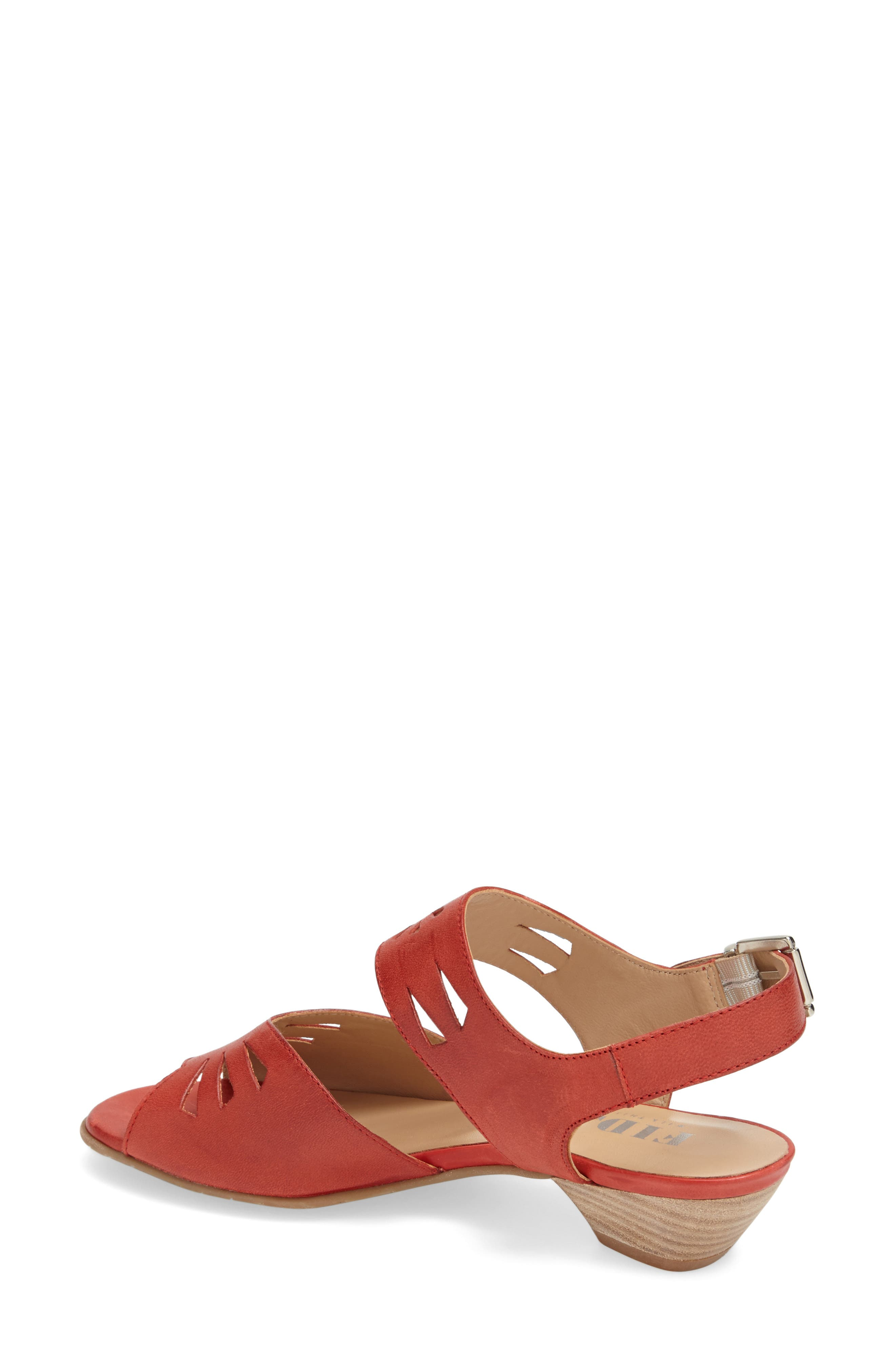 'V112' Perforated Leather Sandal,                             Alternate thumbnail 3, color,                             RED