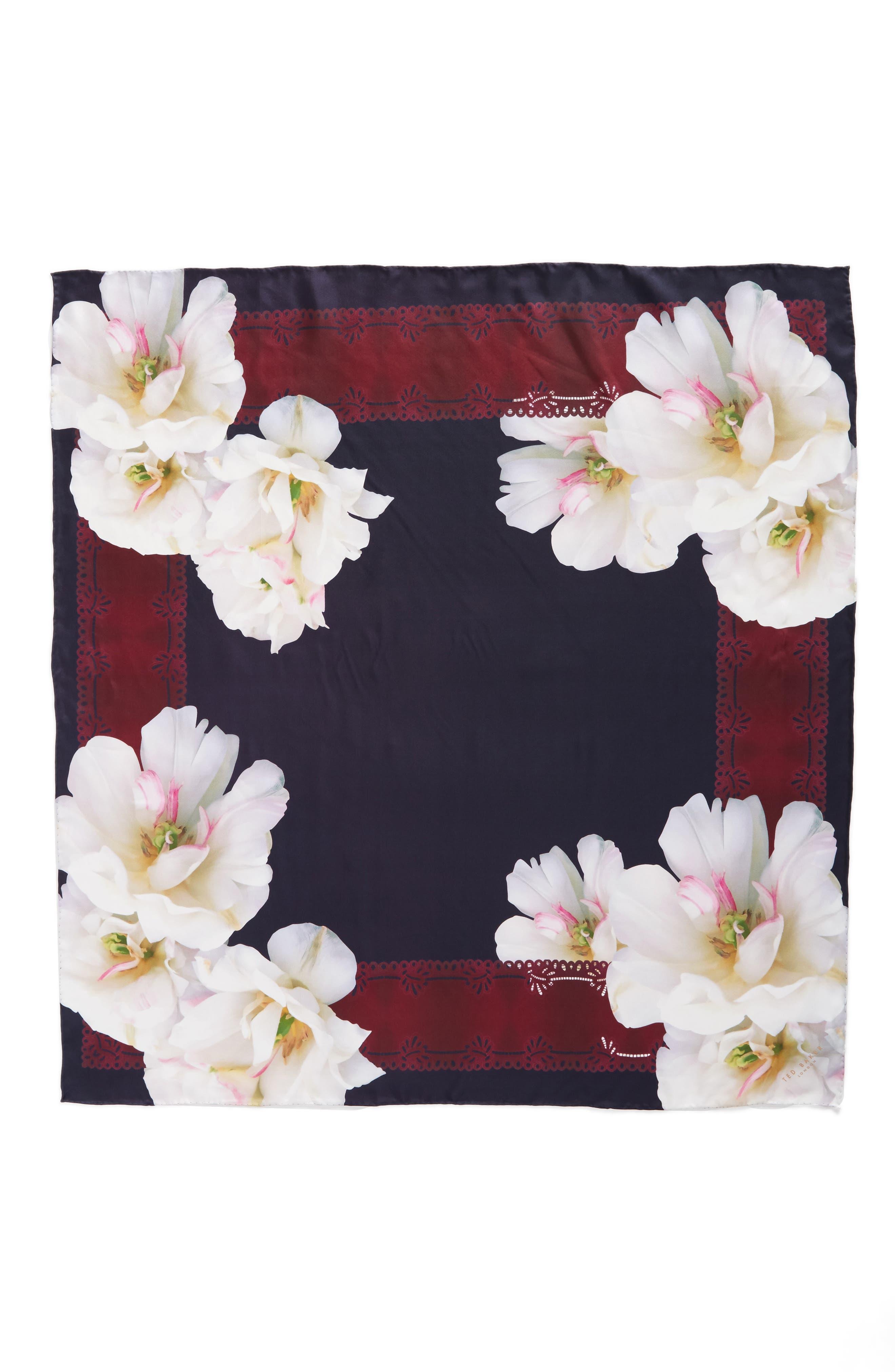 Gardenia Square Silk Scarf,                             Alternate thumbnail 3, color,                             110