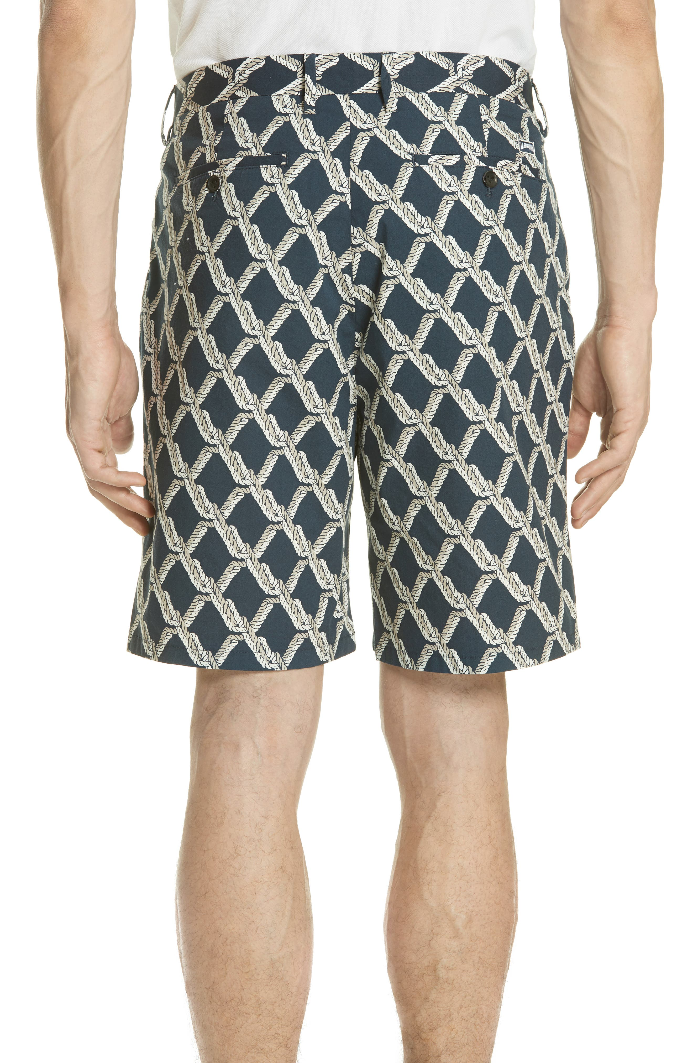 Rope Print Poplin Chino Shorts,                             Alternate thumbnail 2, color,                             SQUID INK / CANVAS