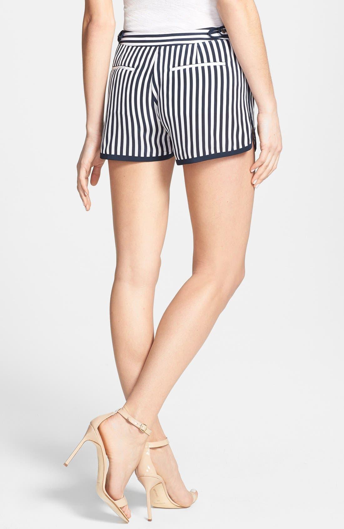 'Tiffany' Stripe Silk Shorts,                             Alternate thumbnail 4, color,
