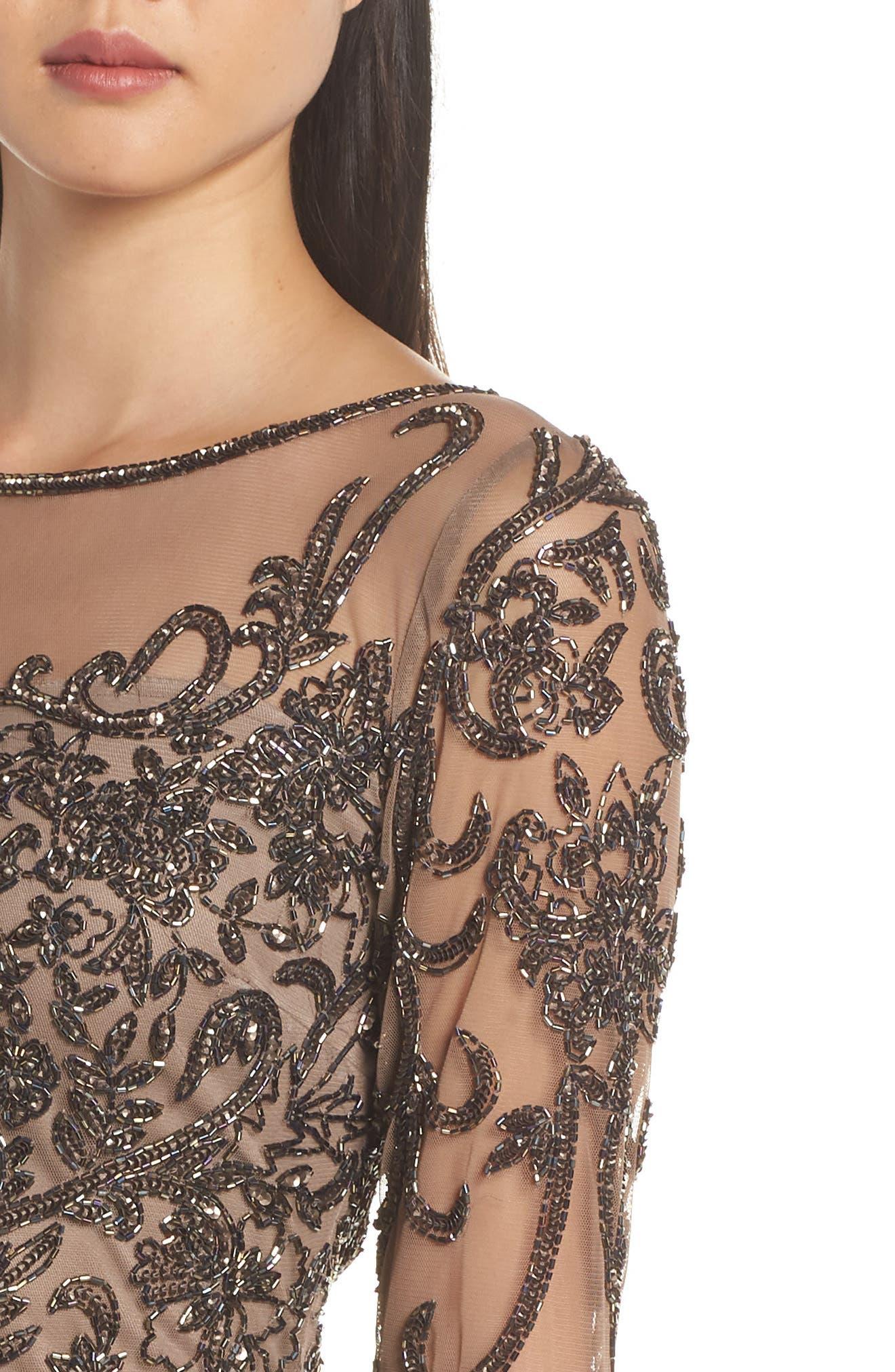 Embellished Mesh Sheath Dress,                             Alternate thumbnail 4, color,                             MOCHA