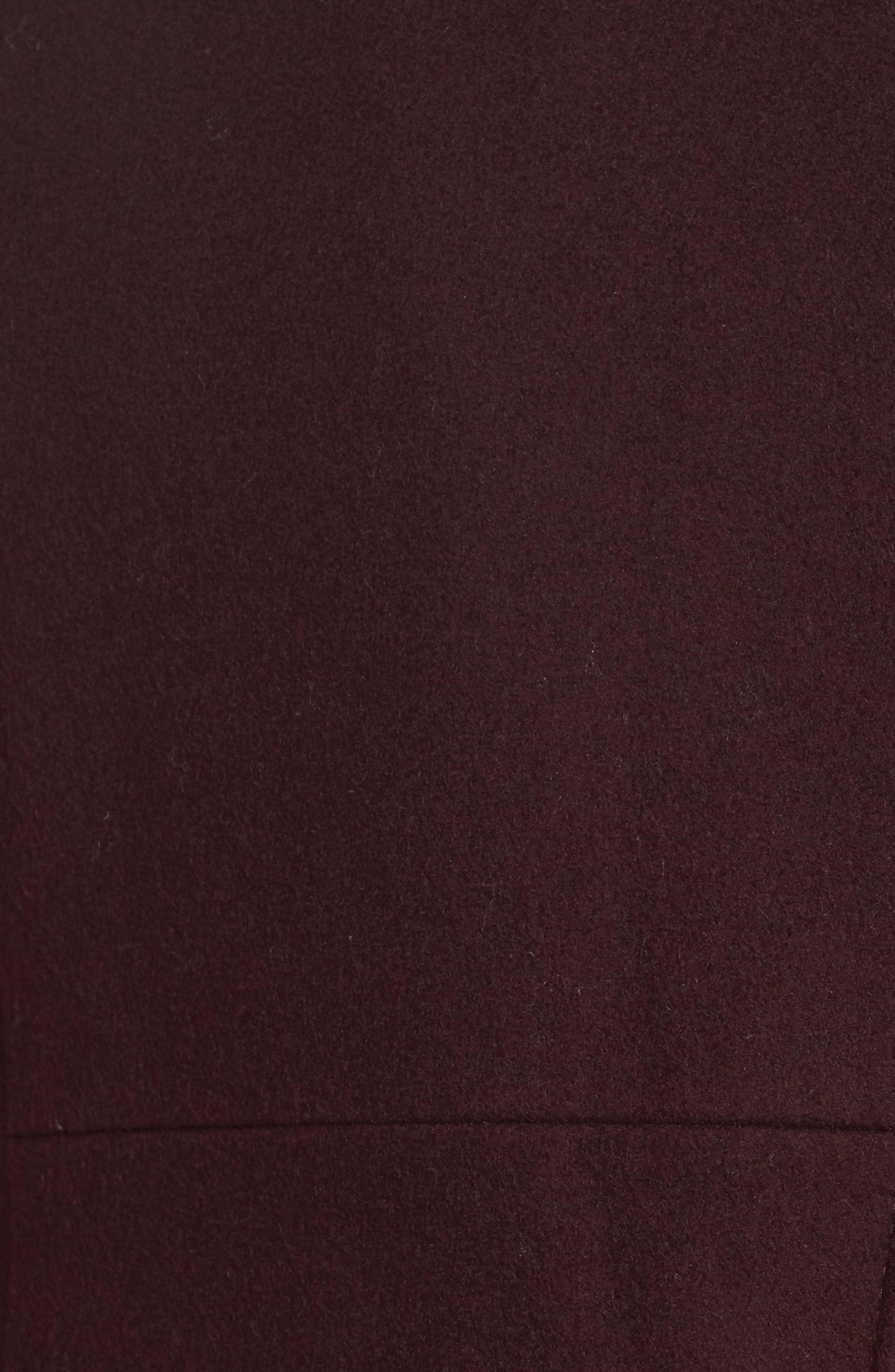 Asymmetrical Zip Wool Blend Coat,                             Alternate thumbnail 7, color,                             WINE