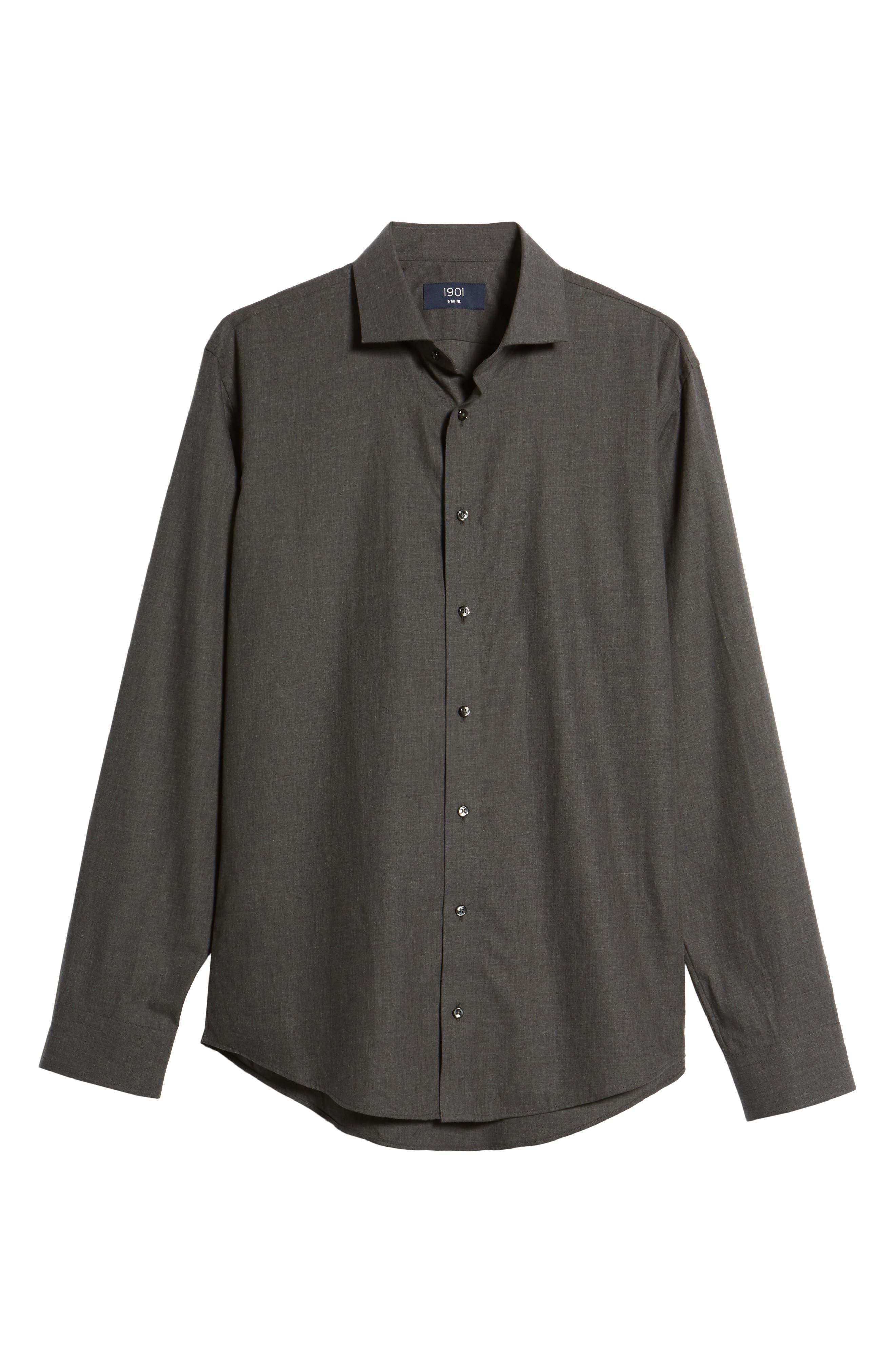 1901,                             Trim Fit Solid Dress Shirt,                             Alternate thumbnail 5, color,                             050