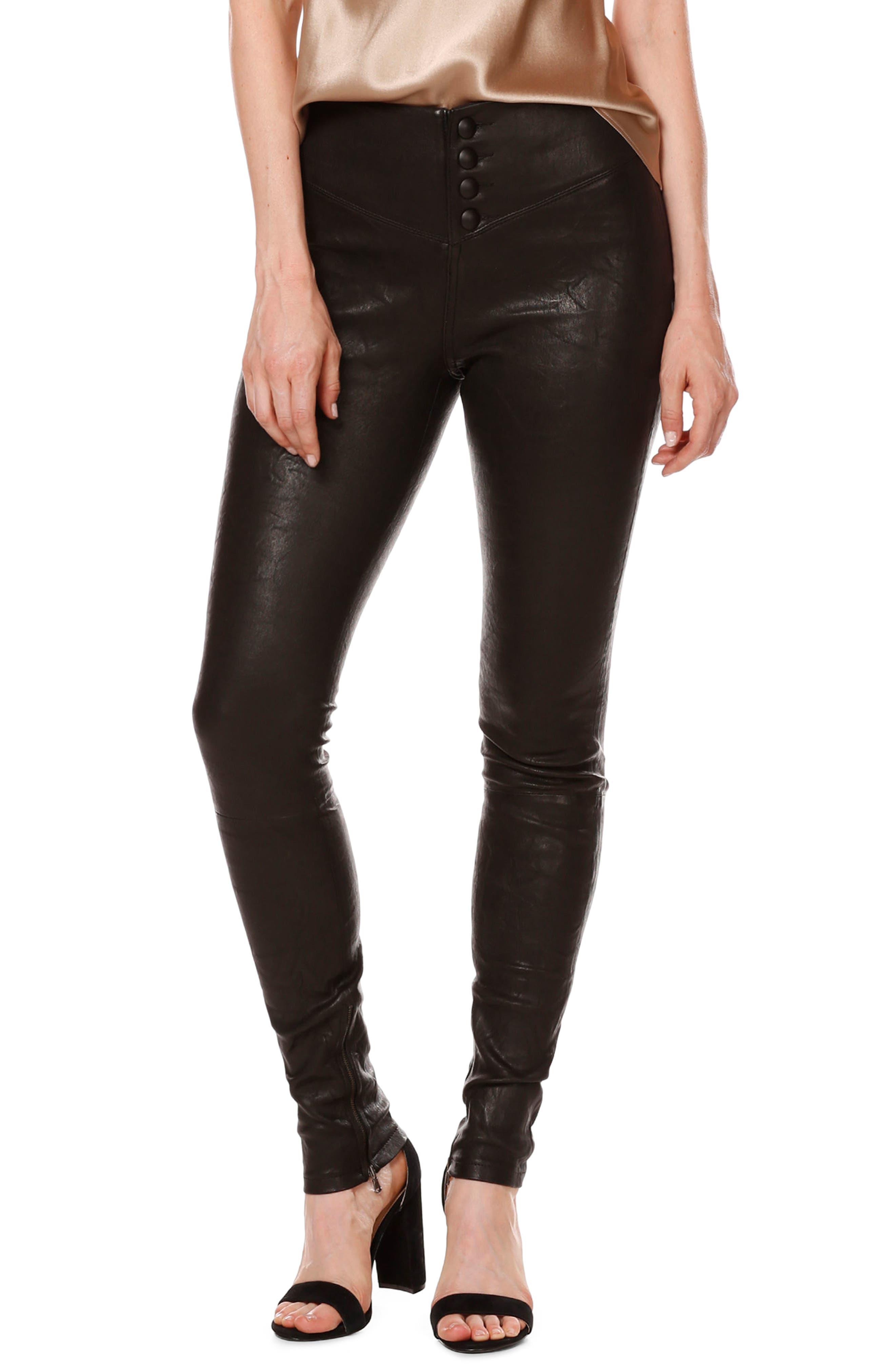 Rosie HW x PAIGE Ellery Ankle Zip Leather Pants,                             Alternate thumbnail 4, color,                             001