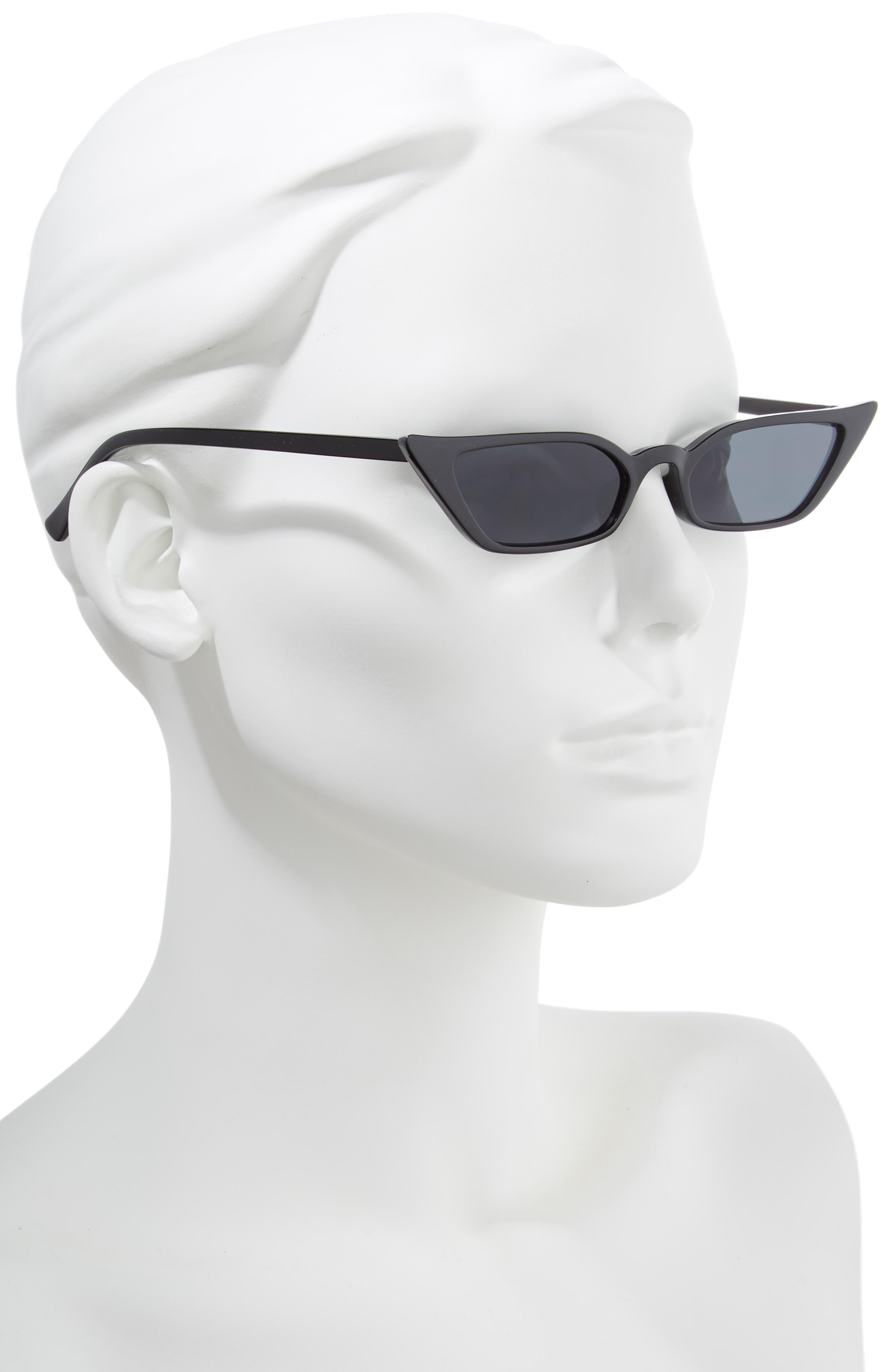 52mm Cat Eye Sunglasses,                             Alternate thumbnail 2, color,                             BLACK/ SMOKE LENS