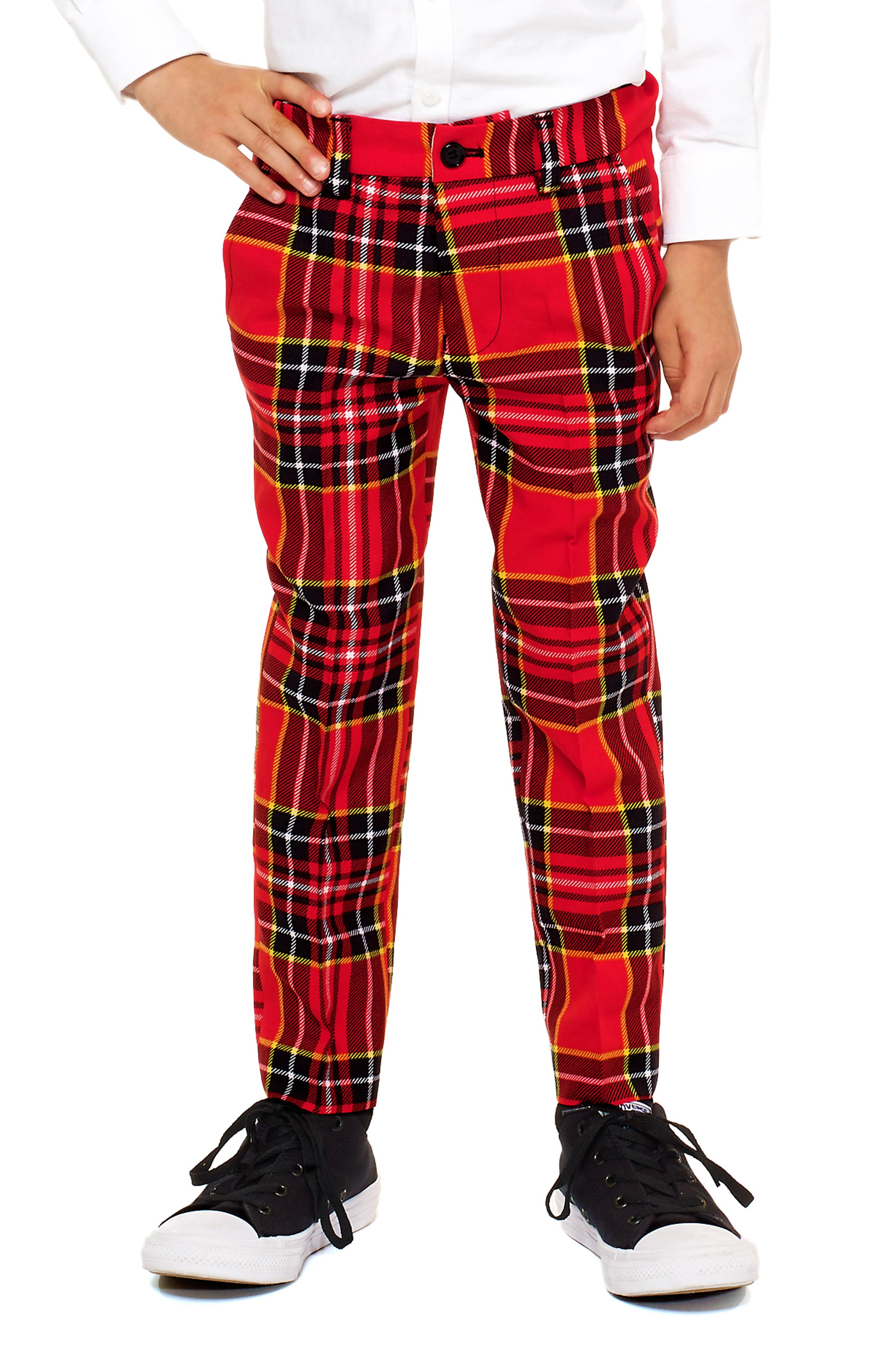 Lumberjack Two-Piece Suit with Tie,                             Alternate thumbnail 3, color,                             RED