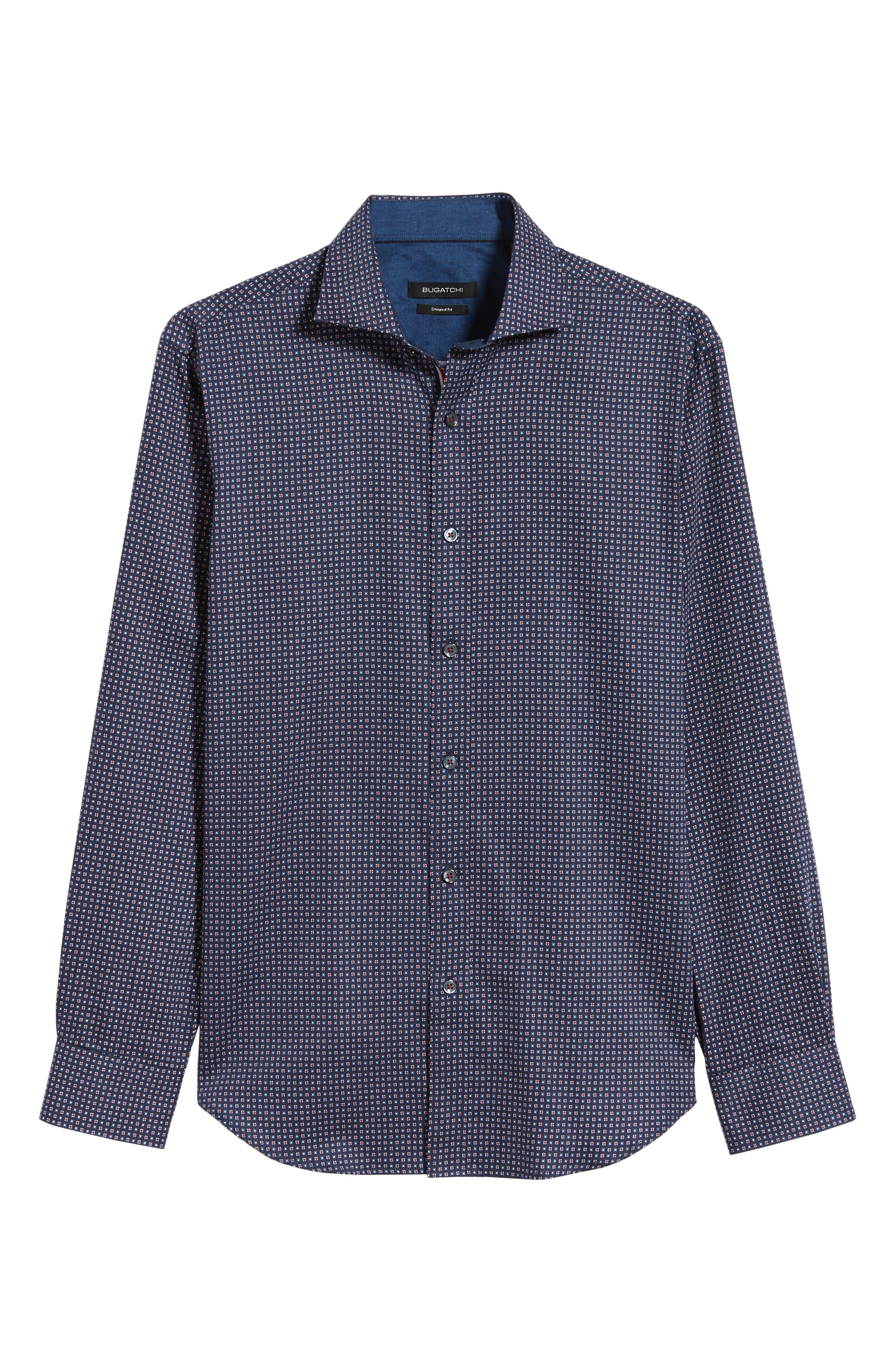 BUGATCHI,                             Shaped Fit Print Sport Shirt,                             Alternate thumbnail 5, color,                             400