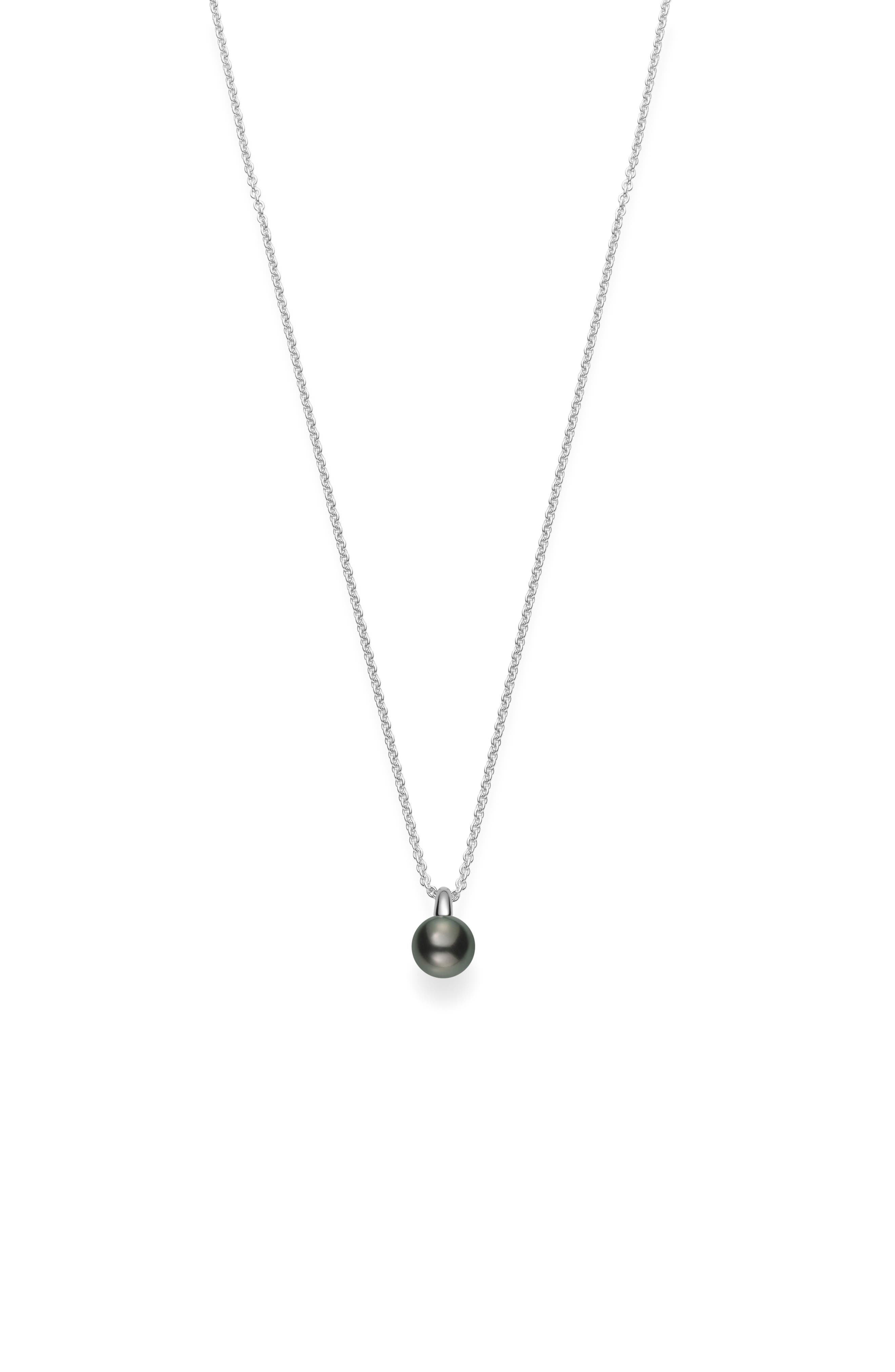 Classic Black Pearl Pendant Necklace,                             Main thumbnail 1, color,                             WHITE GOLD
