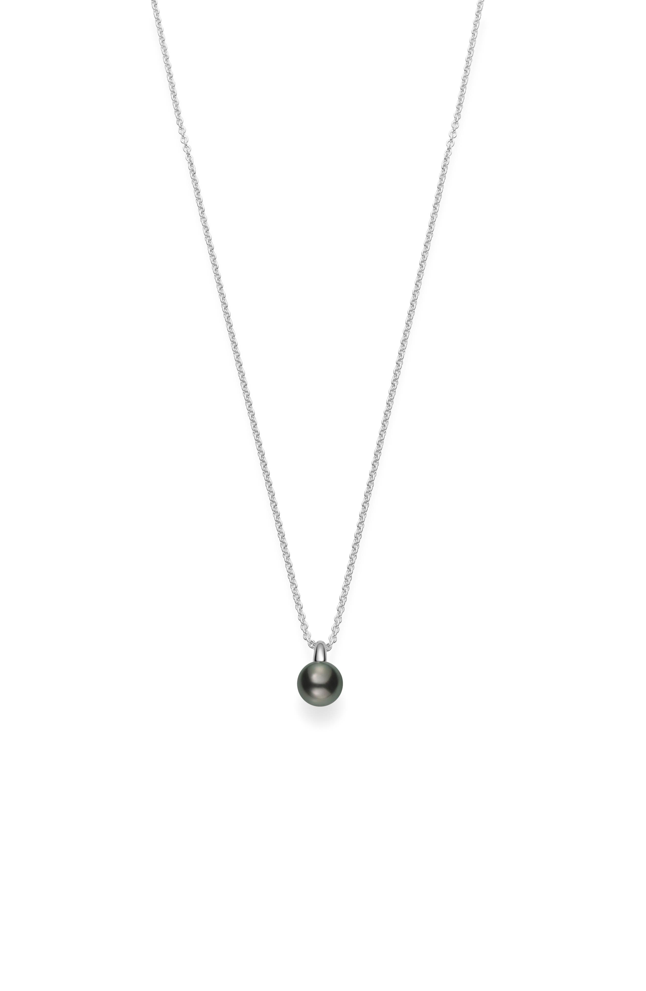 Classic Black Pearl Pendant Necklace,                         Main,                         color, WHITE GOLD