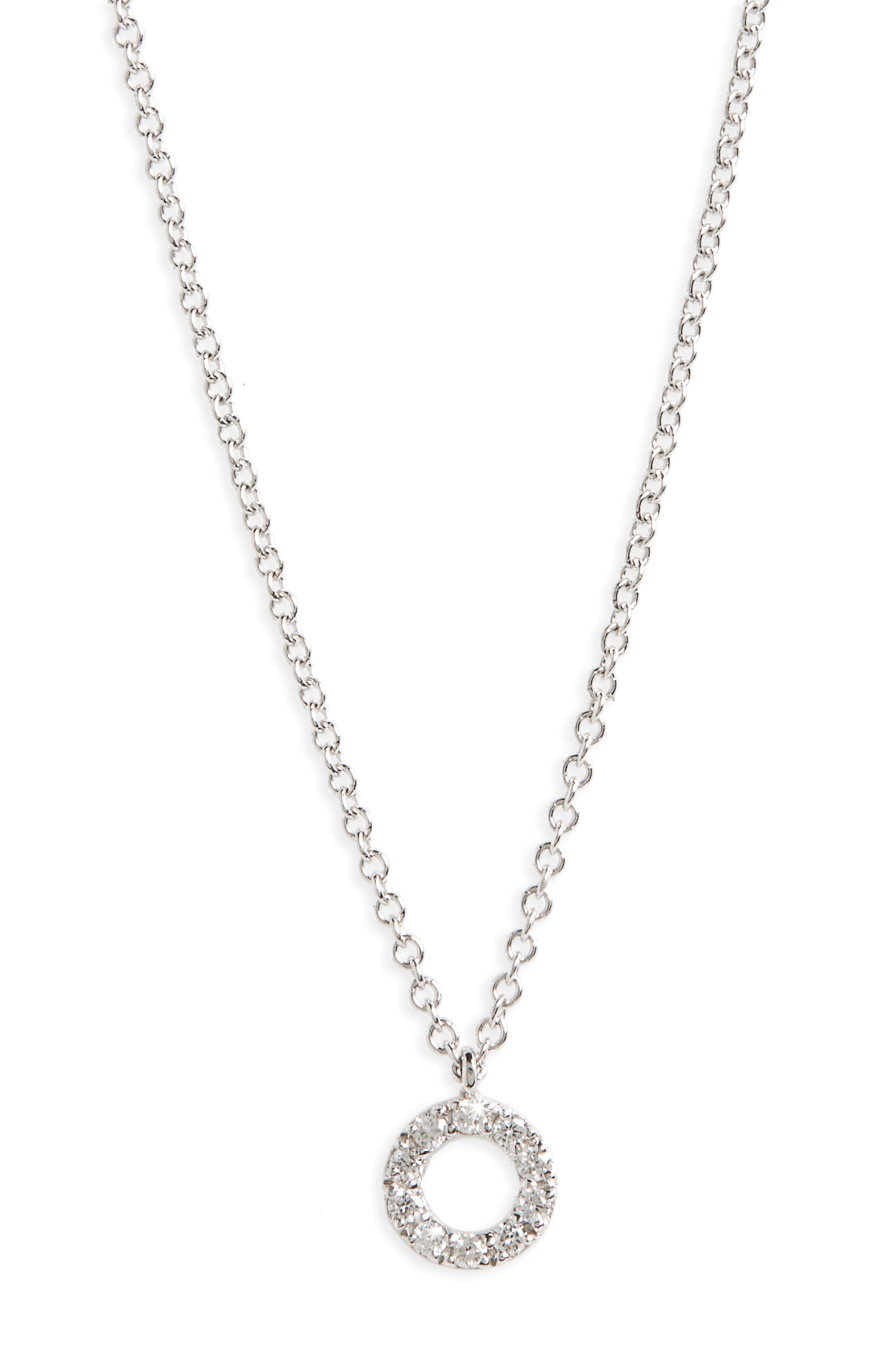 Simple Obsessions Diamond Pendant Necklace,                             Main thumbnail 1, color,                             WHITE GOLD