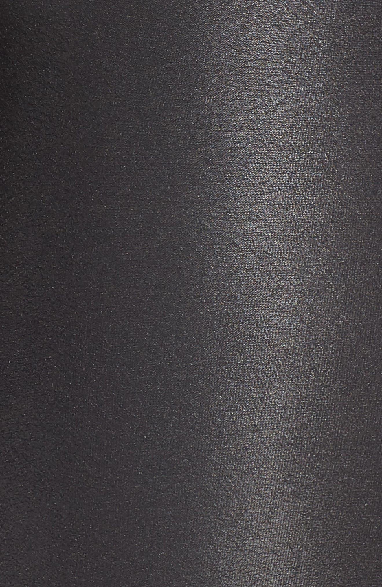 Faux Leather Bike Shorts,                             Alternate thumbnail 6, color,                             BLACK