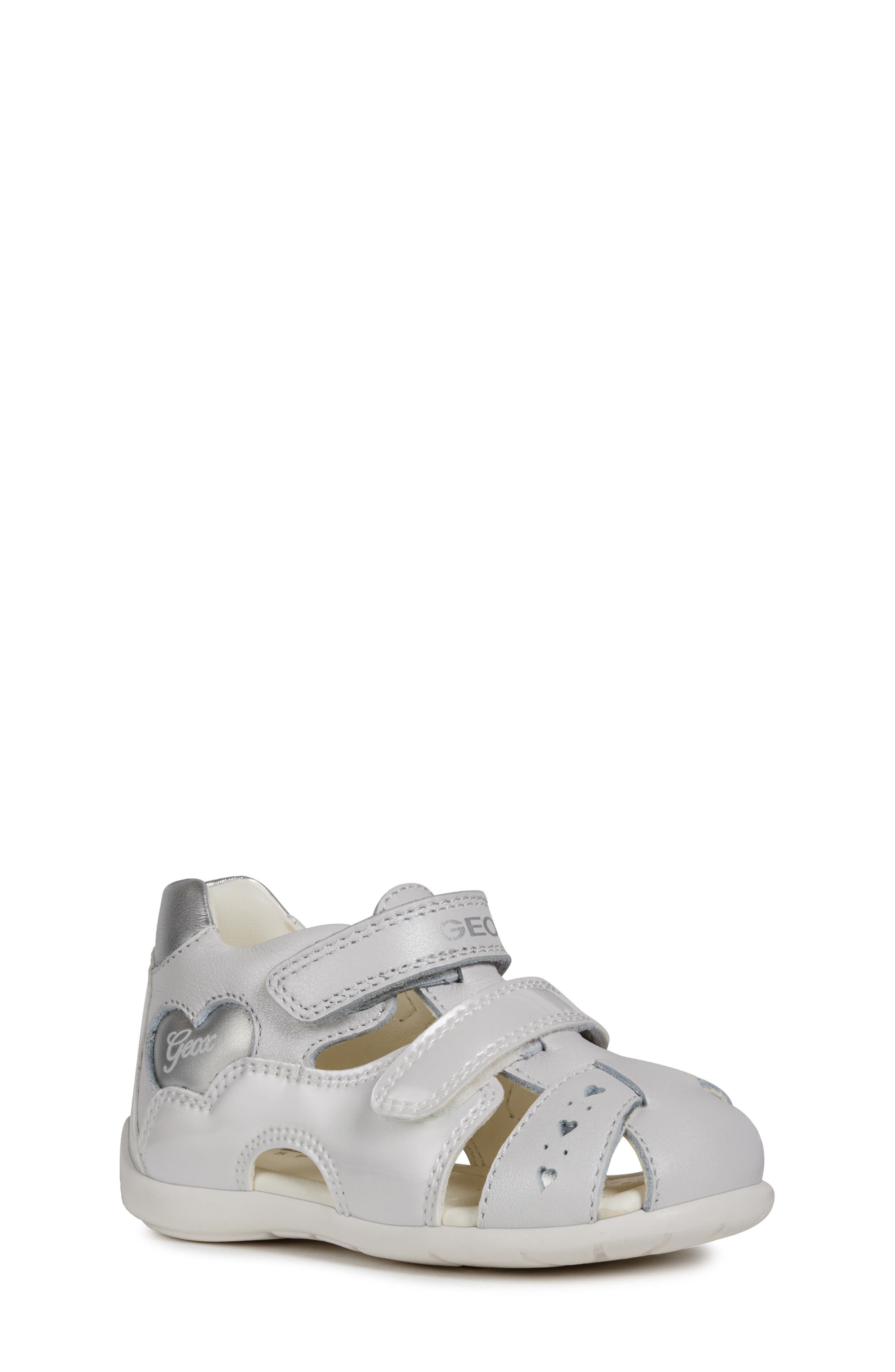 GEOX,                             Kaytan 52 Shimmery Sandal,                             Main thumbnail 1, color,                             WHITE/ SILVER