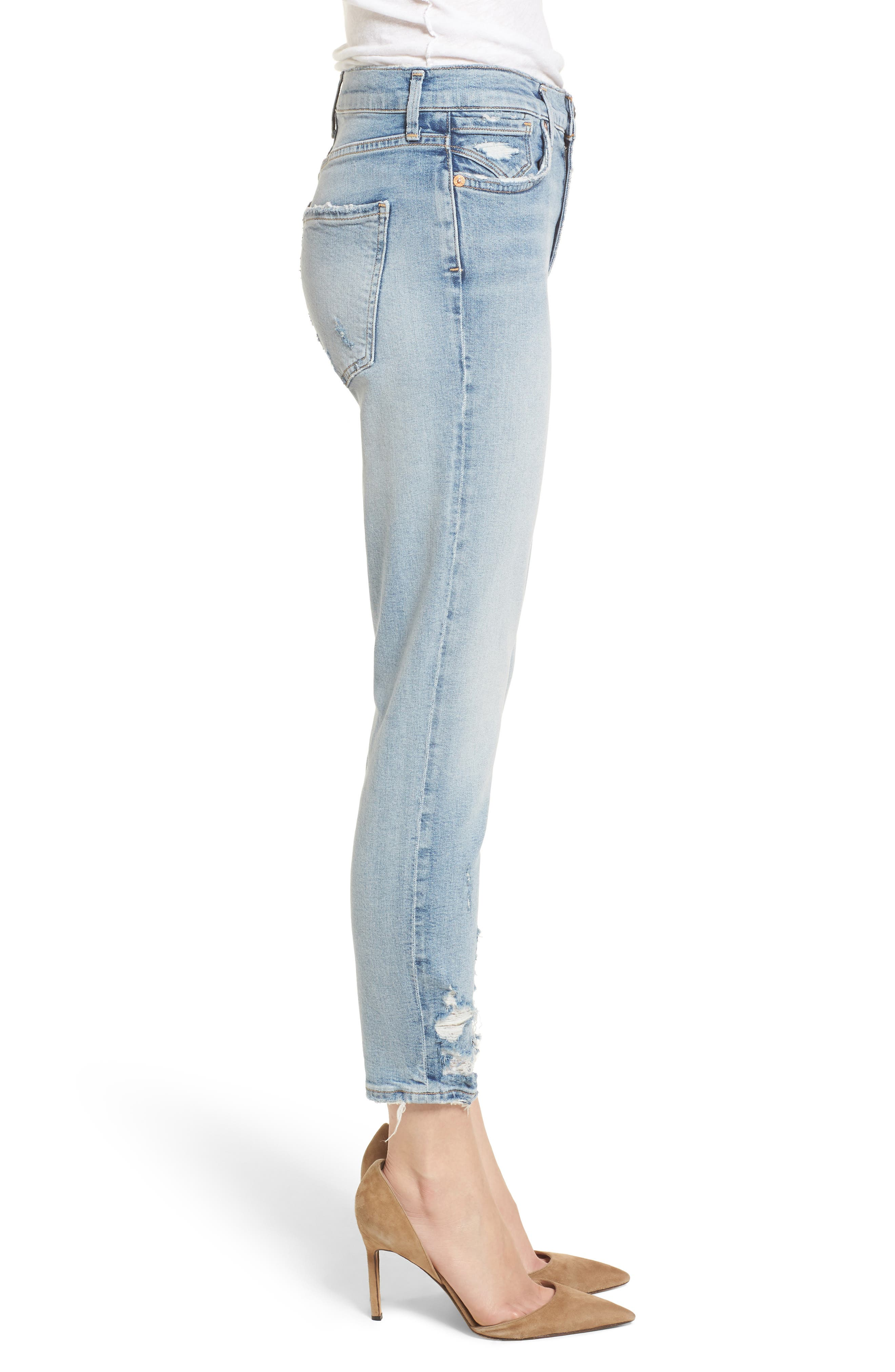 Sophie Distressed High Waist Crop Skinny Jeans,                             Alternate thumbnail 3, color,