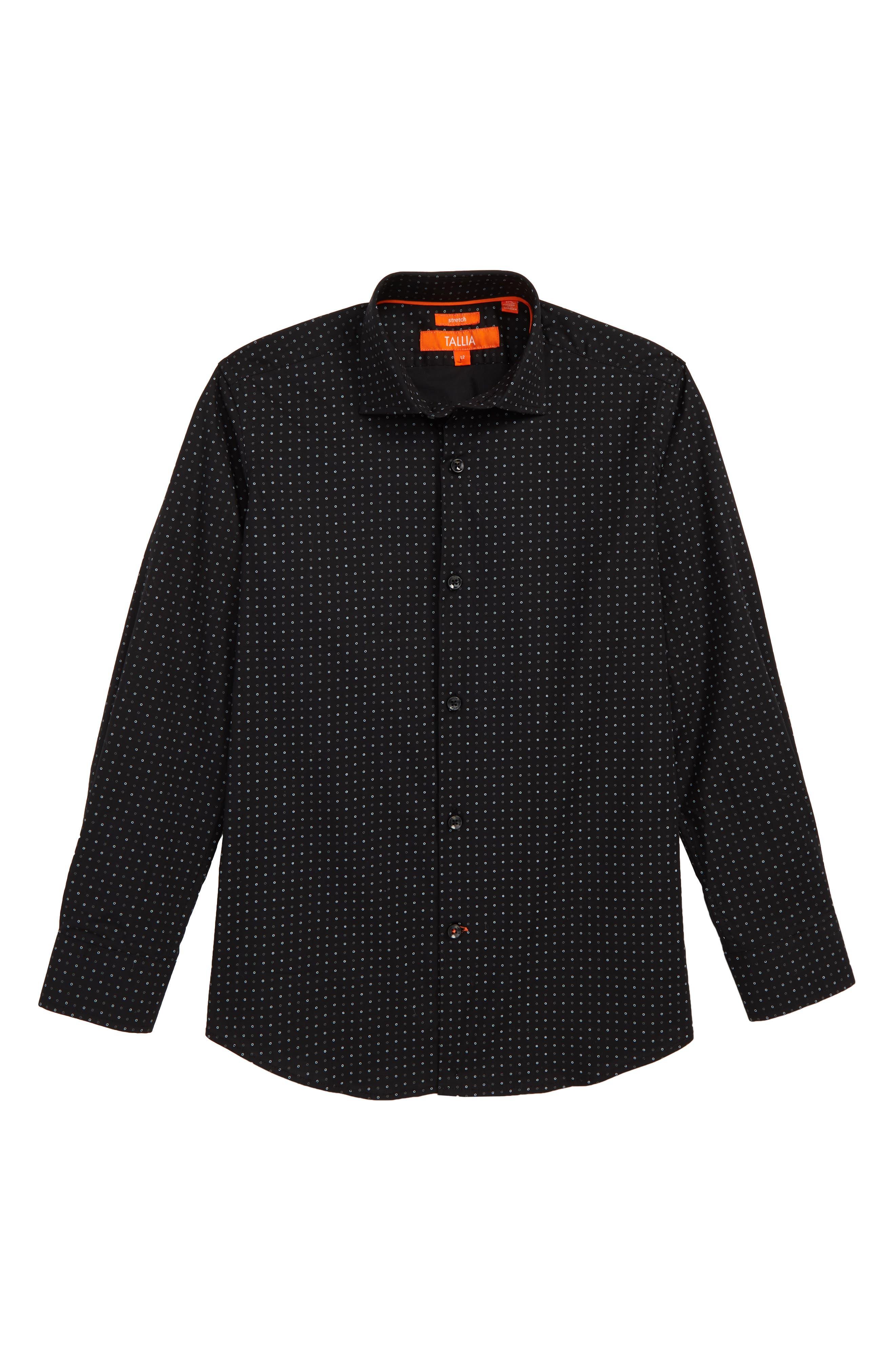 Dot Dress Shirt, Main, color, BLACK