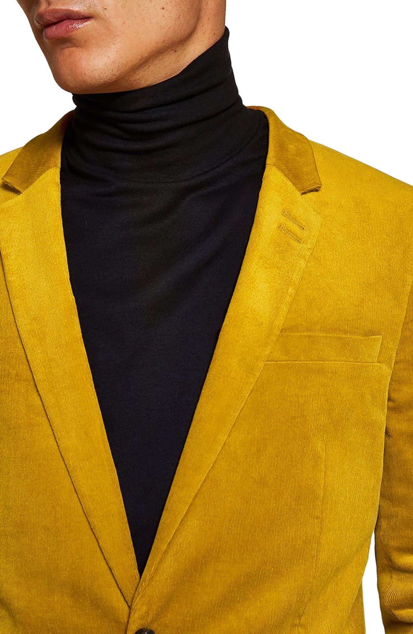 Corduroy Super Skinny Blazer,                             Alternate thumbnail 3, color,                             YELLOW