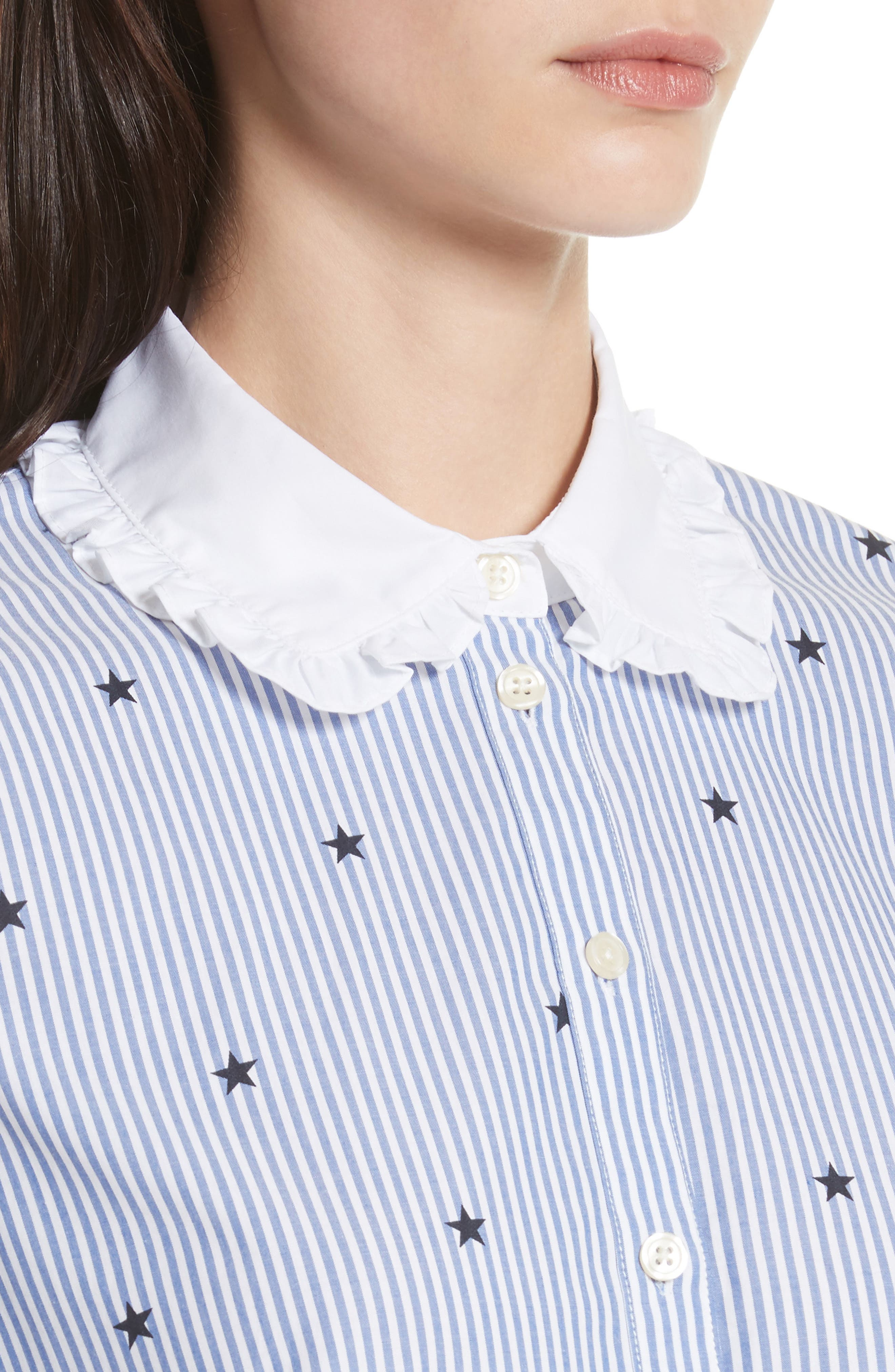 twinkle stripe poplin shirt,                             Alternate thumbnail 4, color,                             491