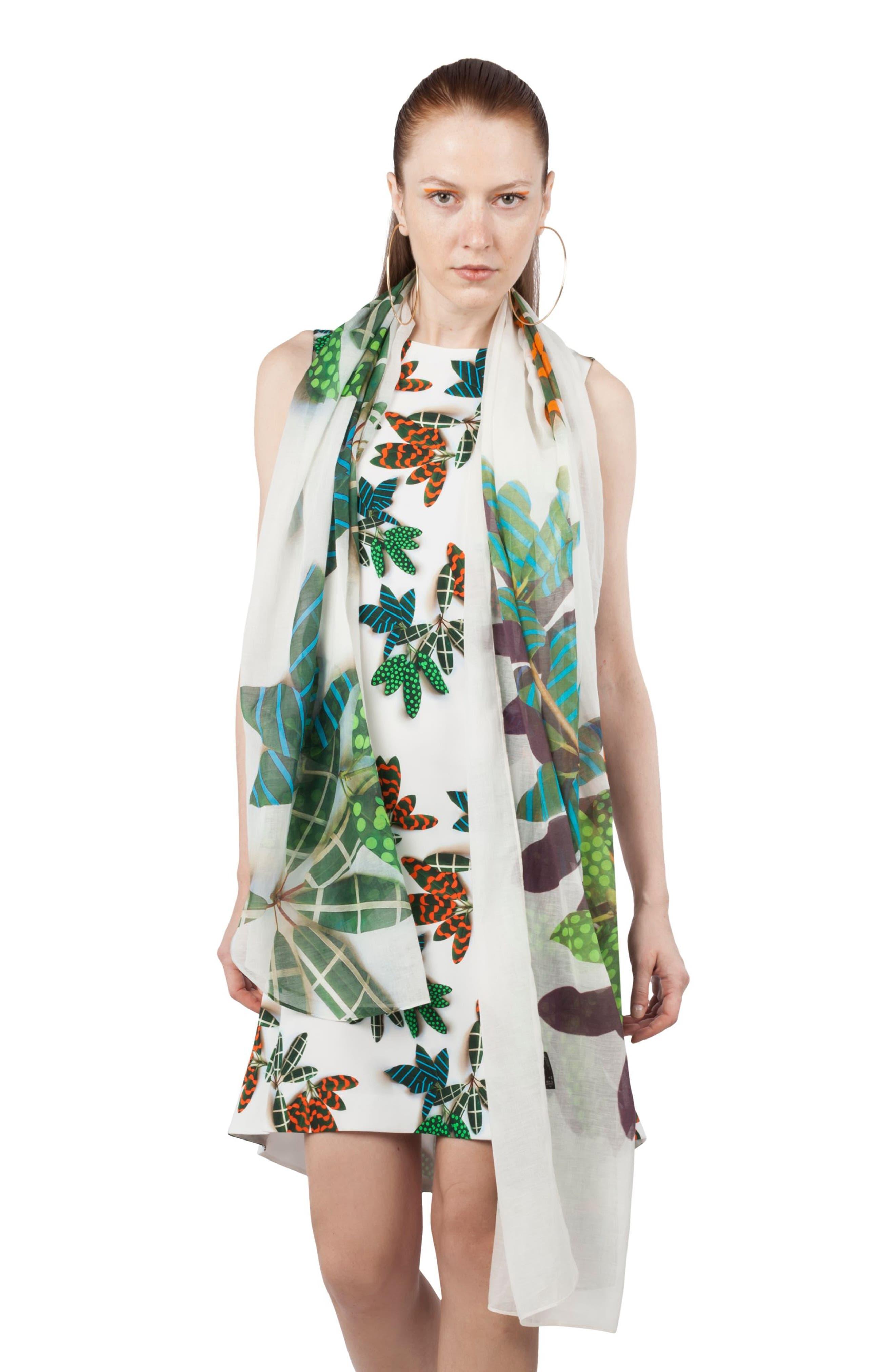 Tropical Print Shift Dress,                             Alternate thumbnail 4, color,                             115