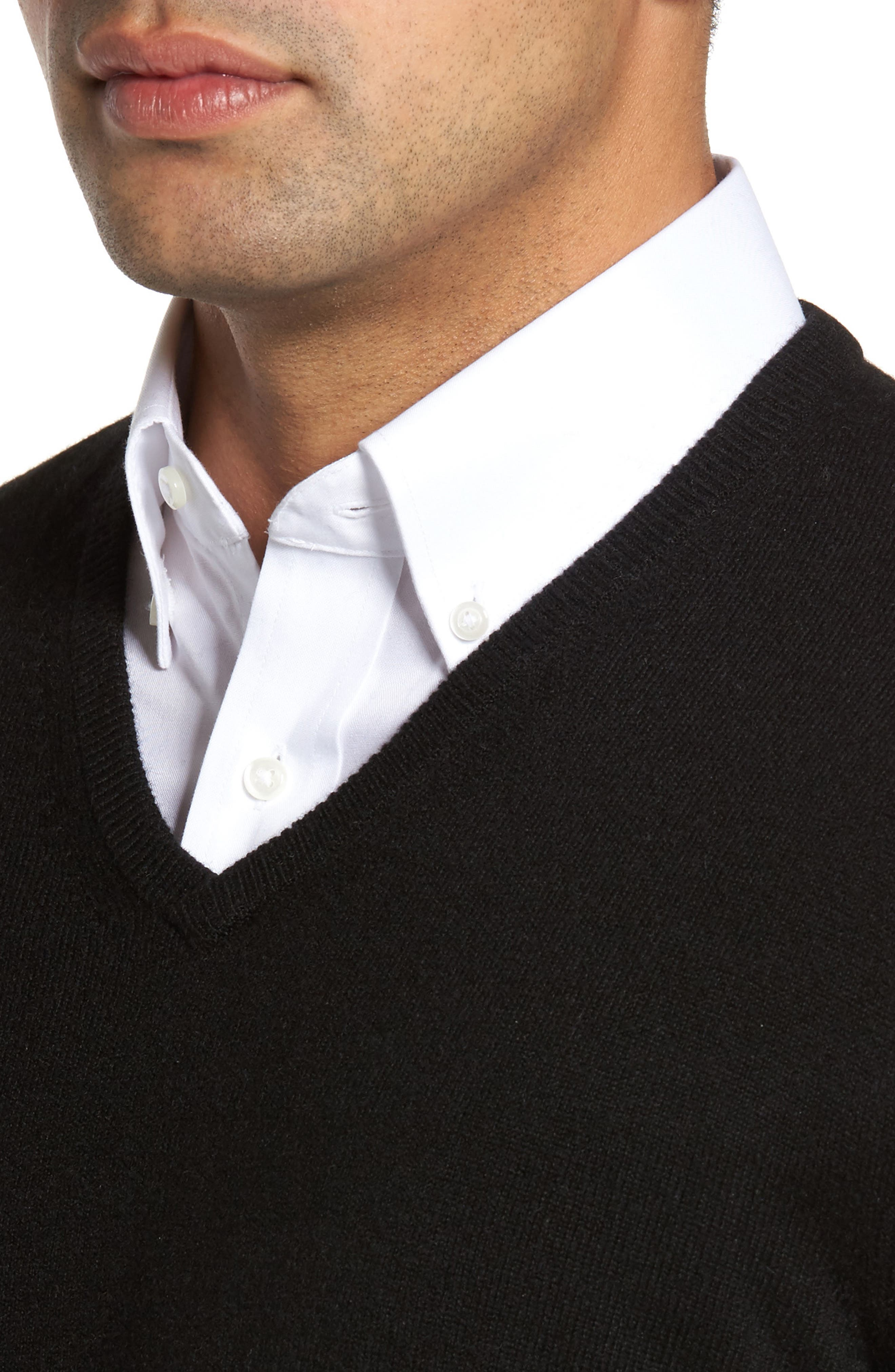 V-Neck Cashmere Sweater,                             Alternate thumbnail 4, color,                             001