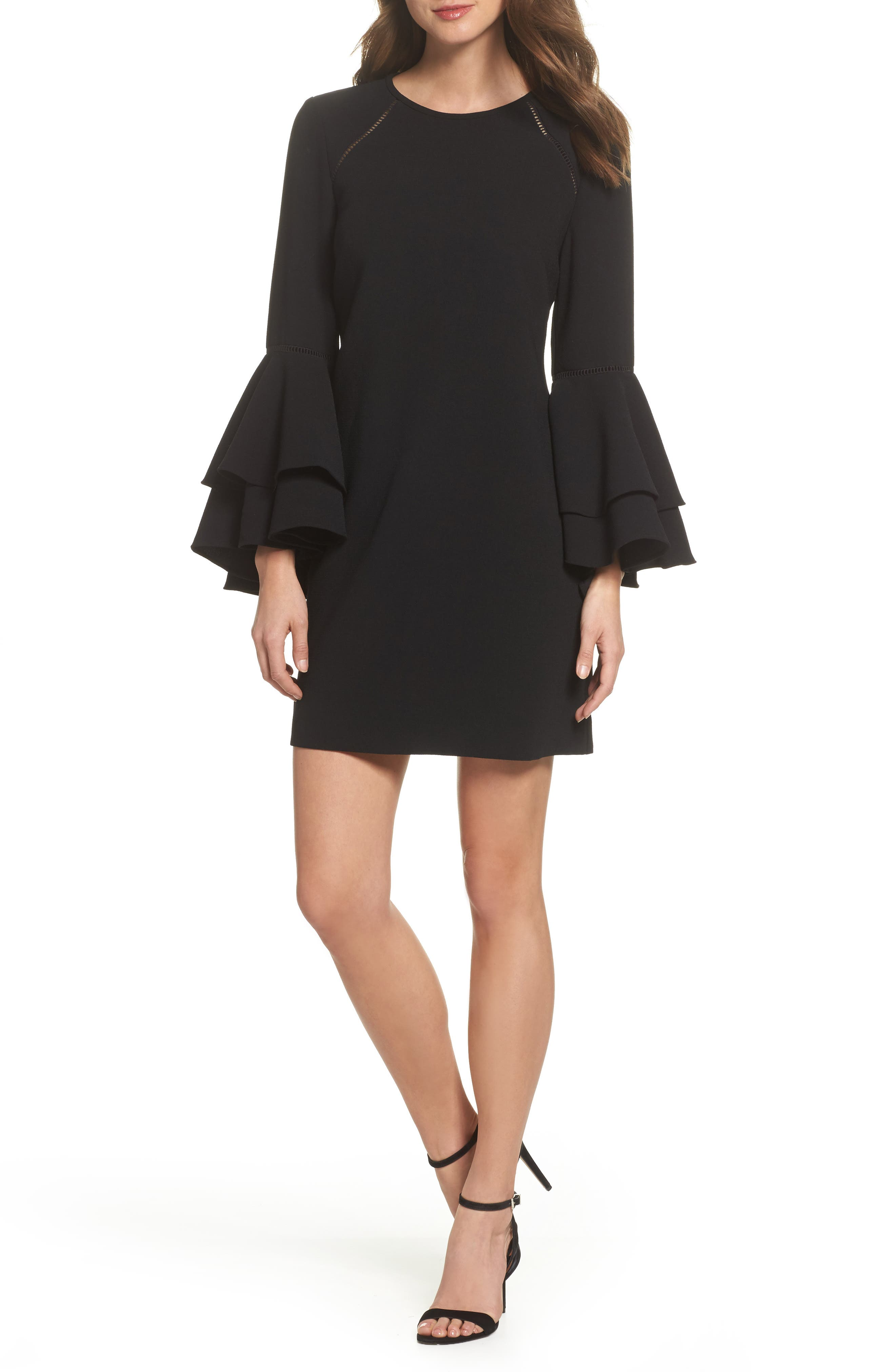 Tiered Bell Sleeve Shift Dress,                         Main,                         color, 001