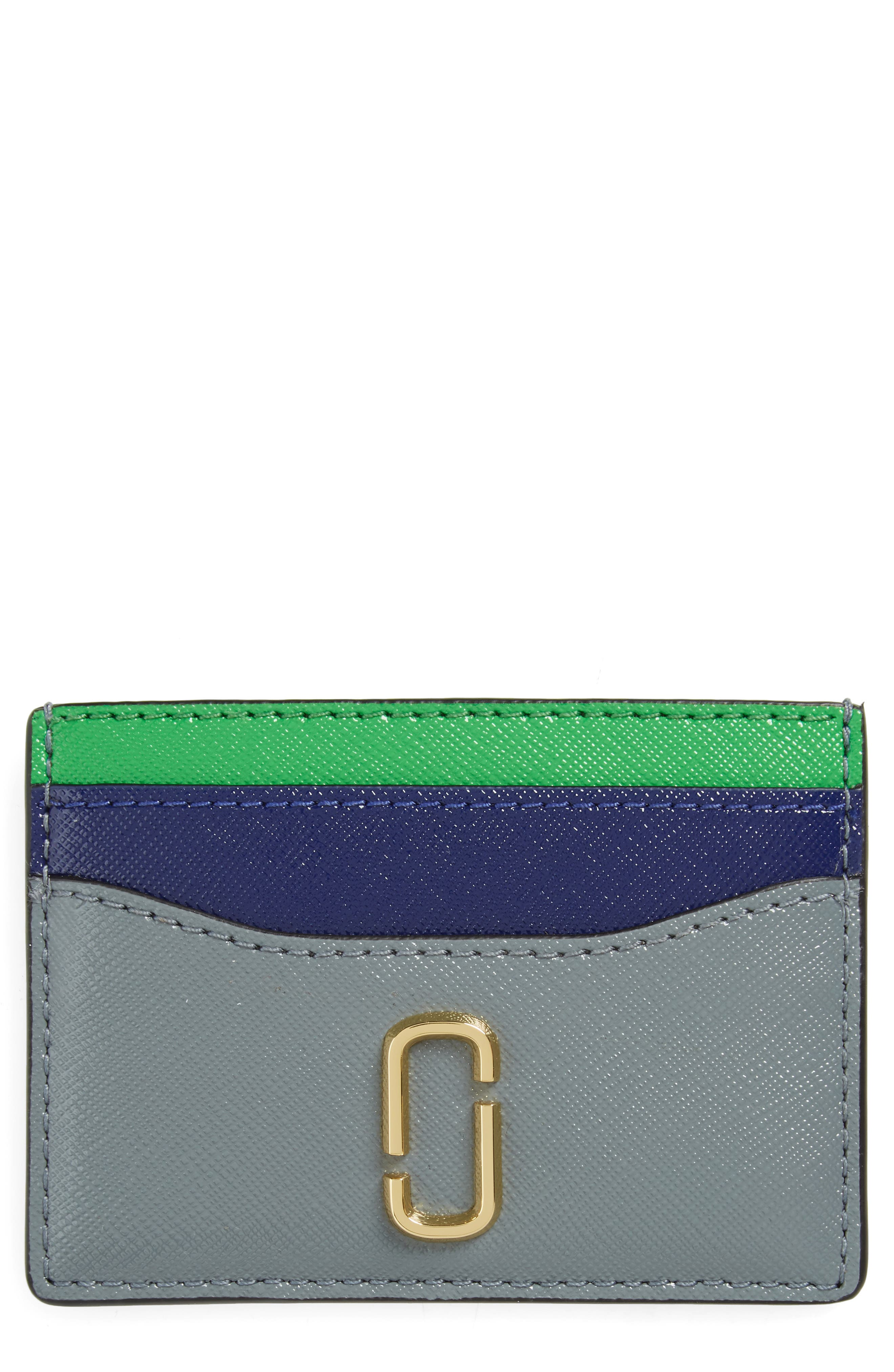 Snapshot Leather Card Case,                         Main,                         color, SLATE MULTI