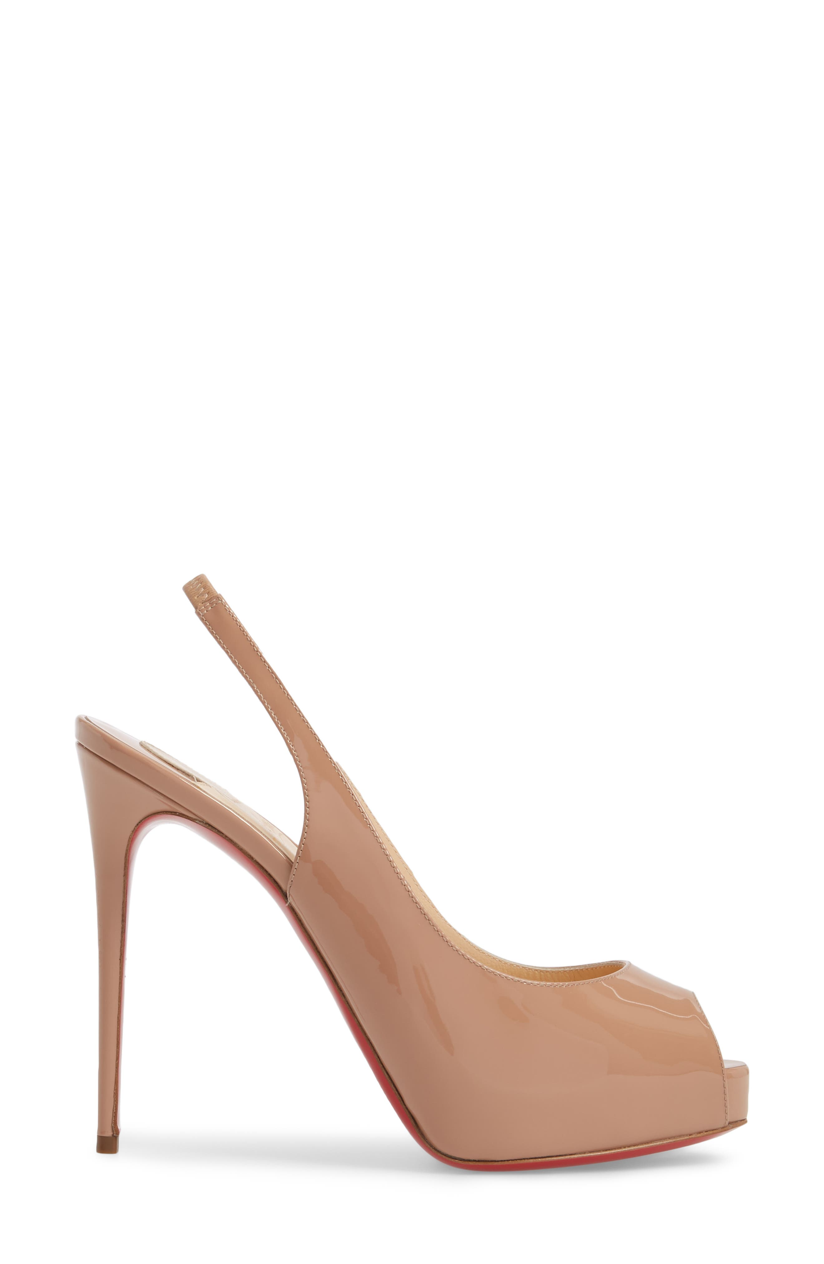 CHRISTIAN LOUBOUTIN,                             Private Number Peep Toe Pump,                             Alternate thumbnail 3, color,                             NUDE