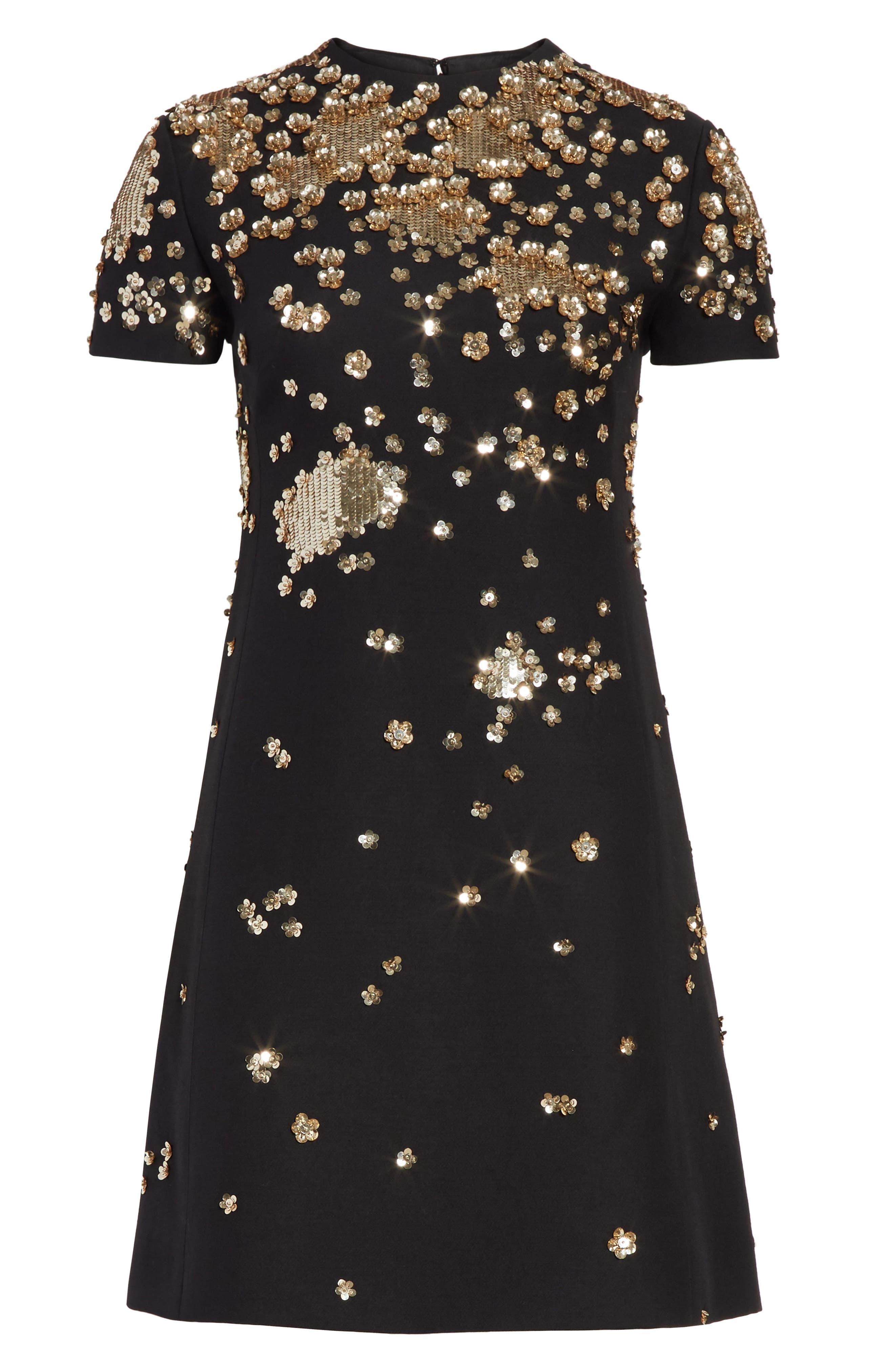 Embellished Wool & Silk Crepe Dress,                             Alternate thumbnail 7, color,                             BLACK