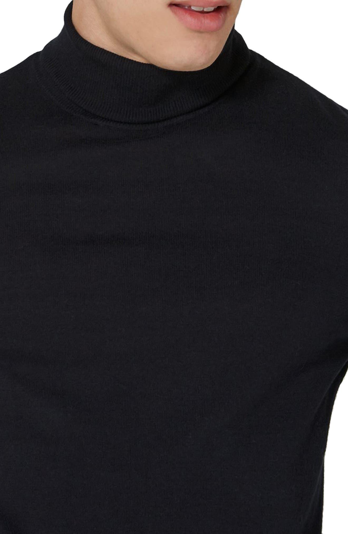 Cotton Turtleneck Sweater,                             Alternate thumbnail 3, color,                             001