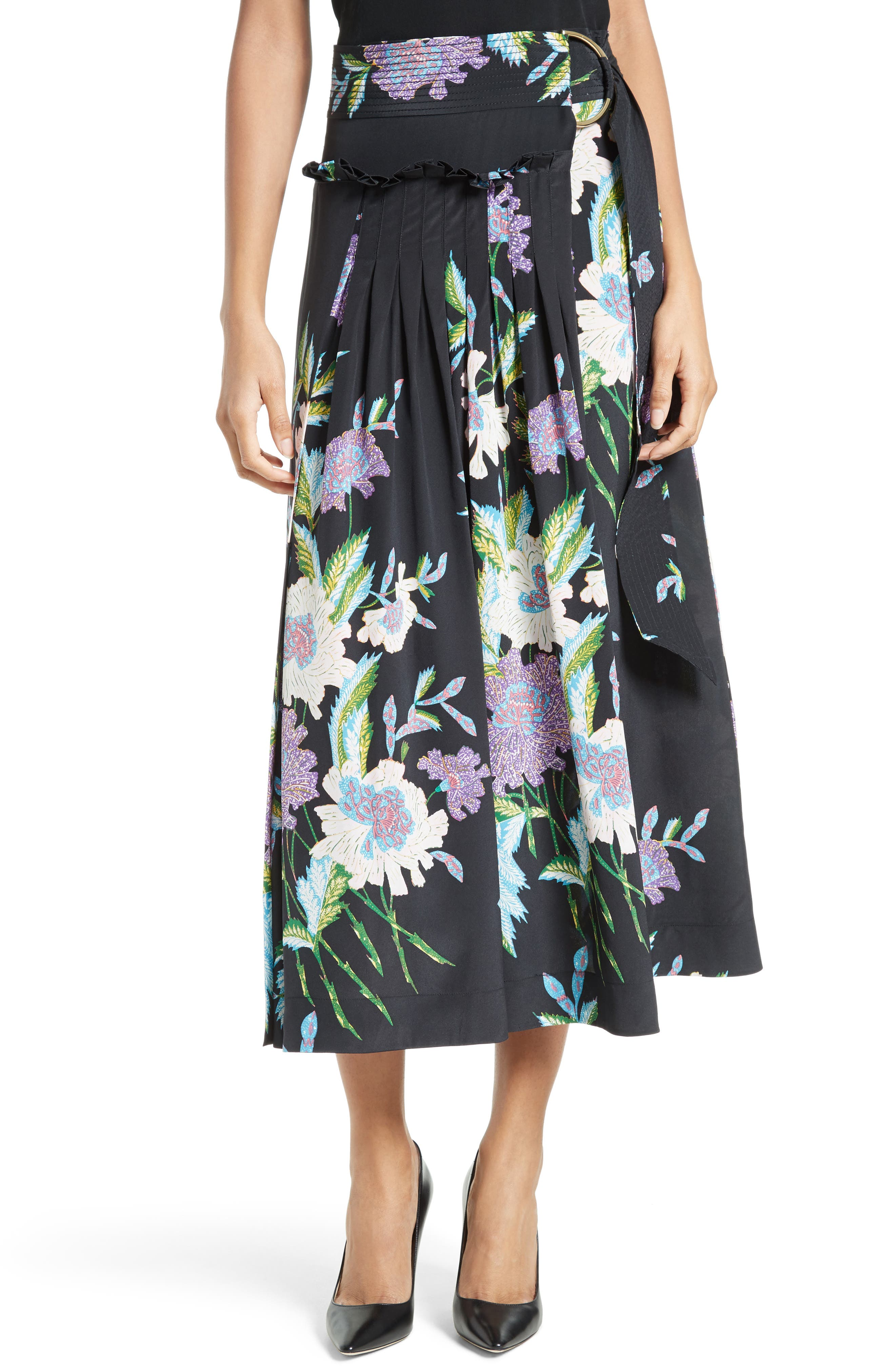 Diane von Furstenberg Floral Silk Midi Skirt,                             Main thumbnail 2, color,