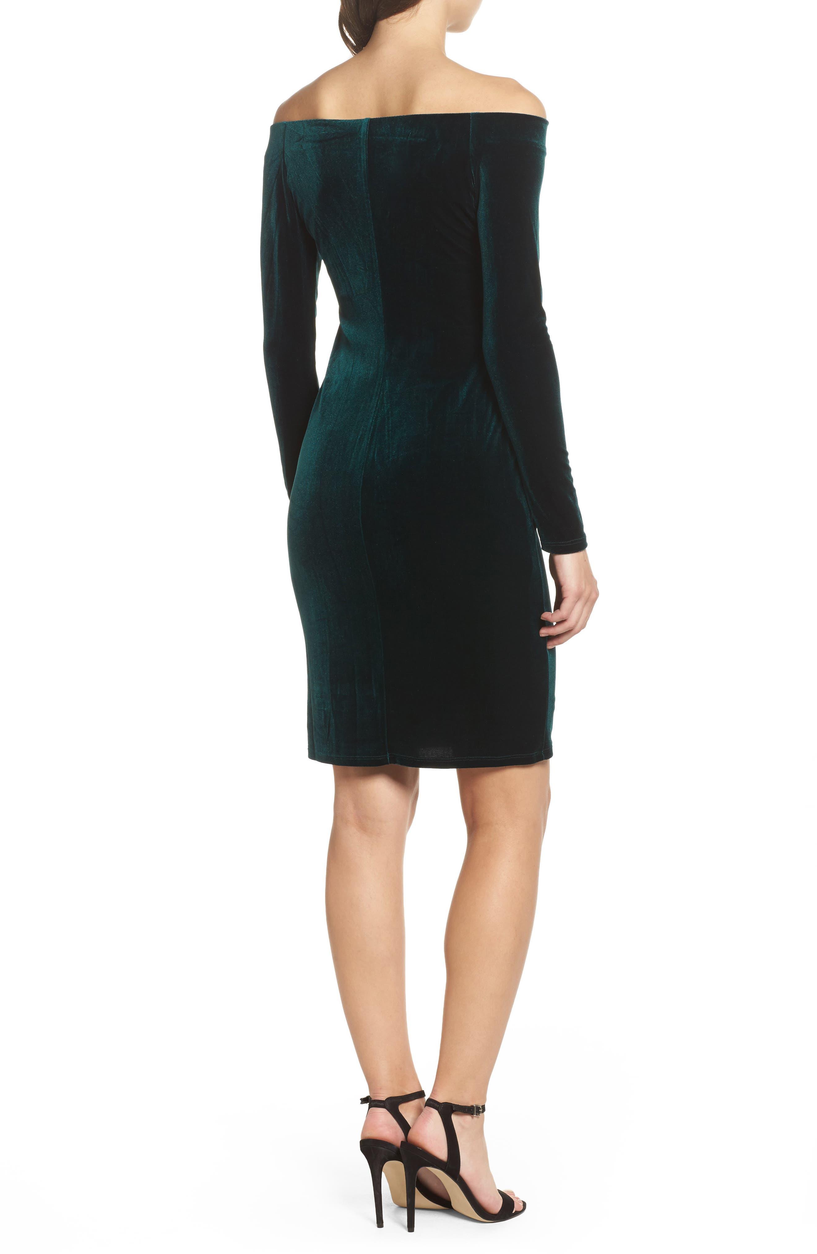 Off the Shoulder Velvet Sheath Dress,                             Alternate thumbnail 2, color,                             310