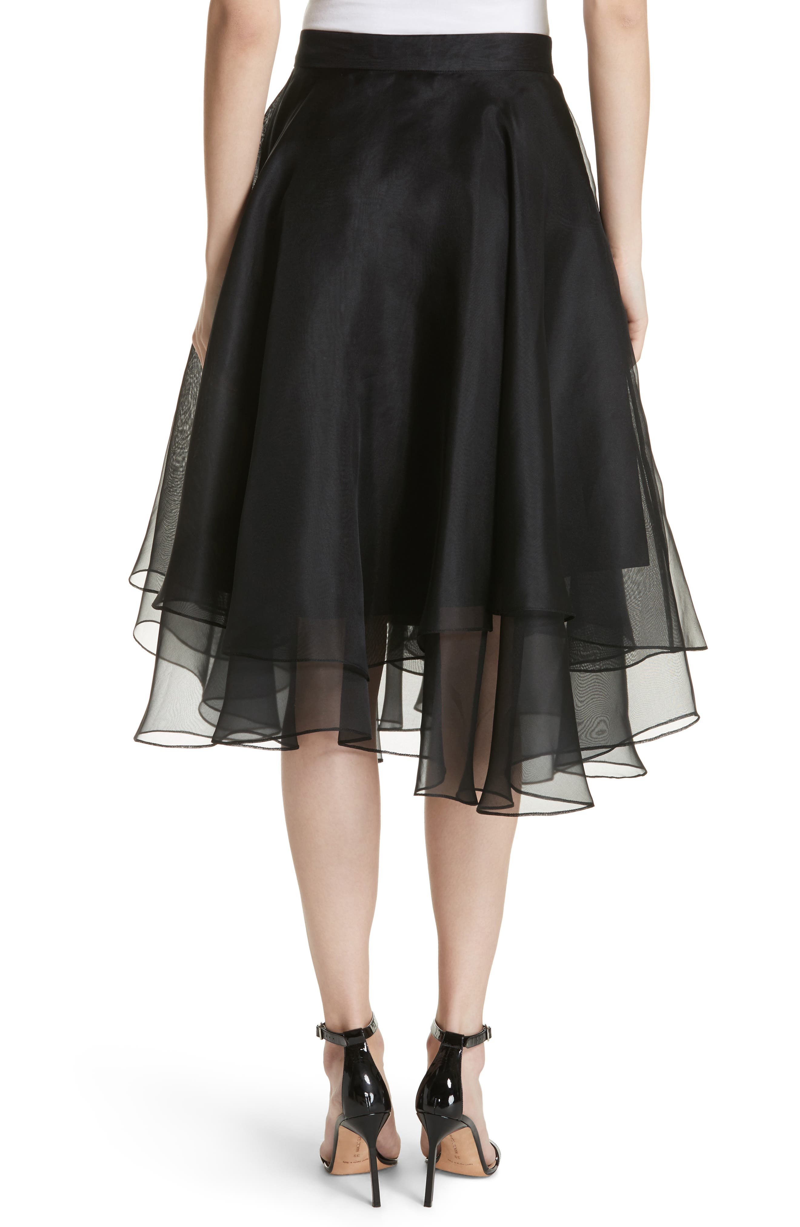 Layered Organza A-Line Skirt,                             Alternate thumbnail 2, color,                             001